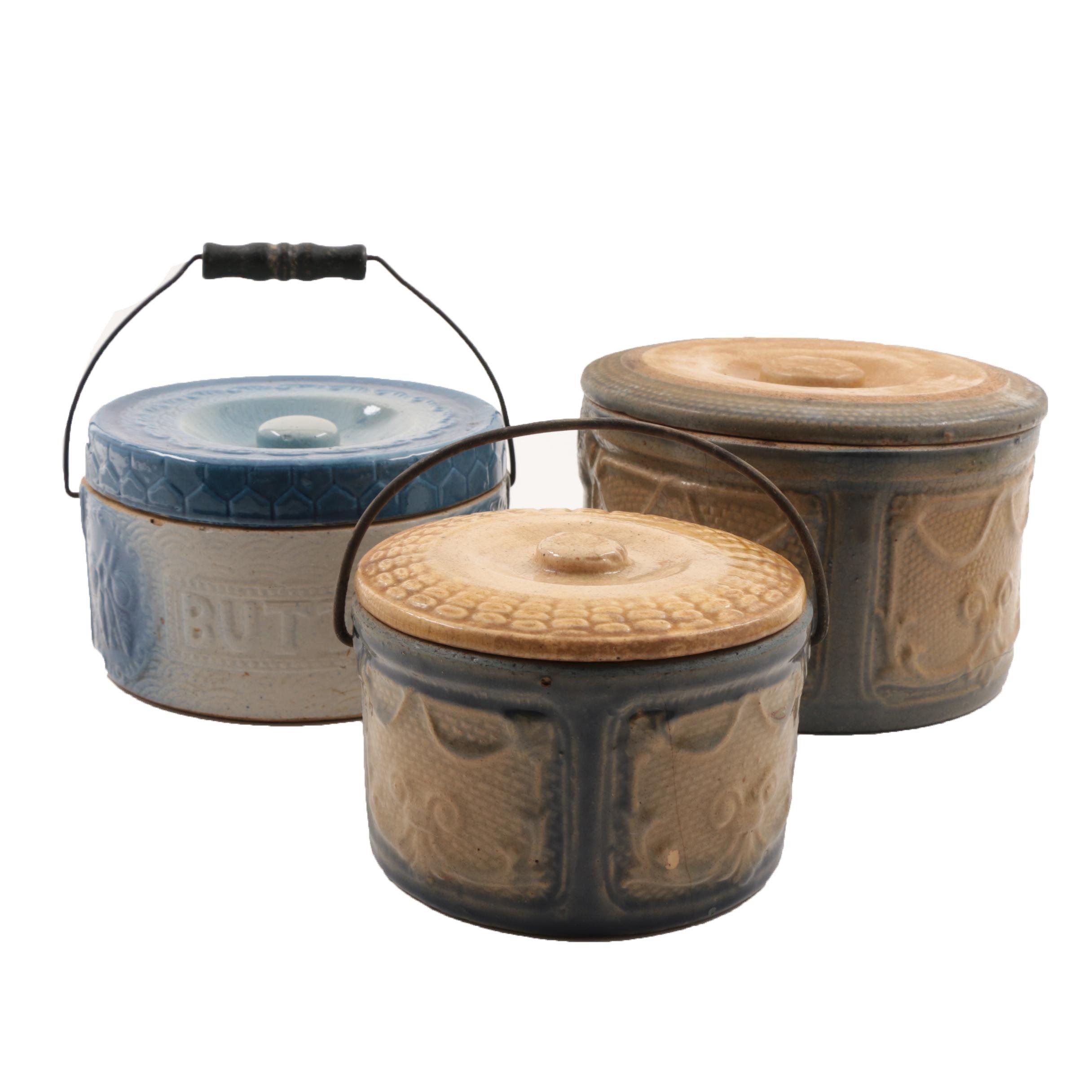 Vintage Stoneware Covered Butter Crocks