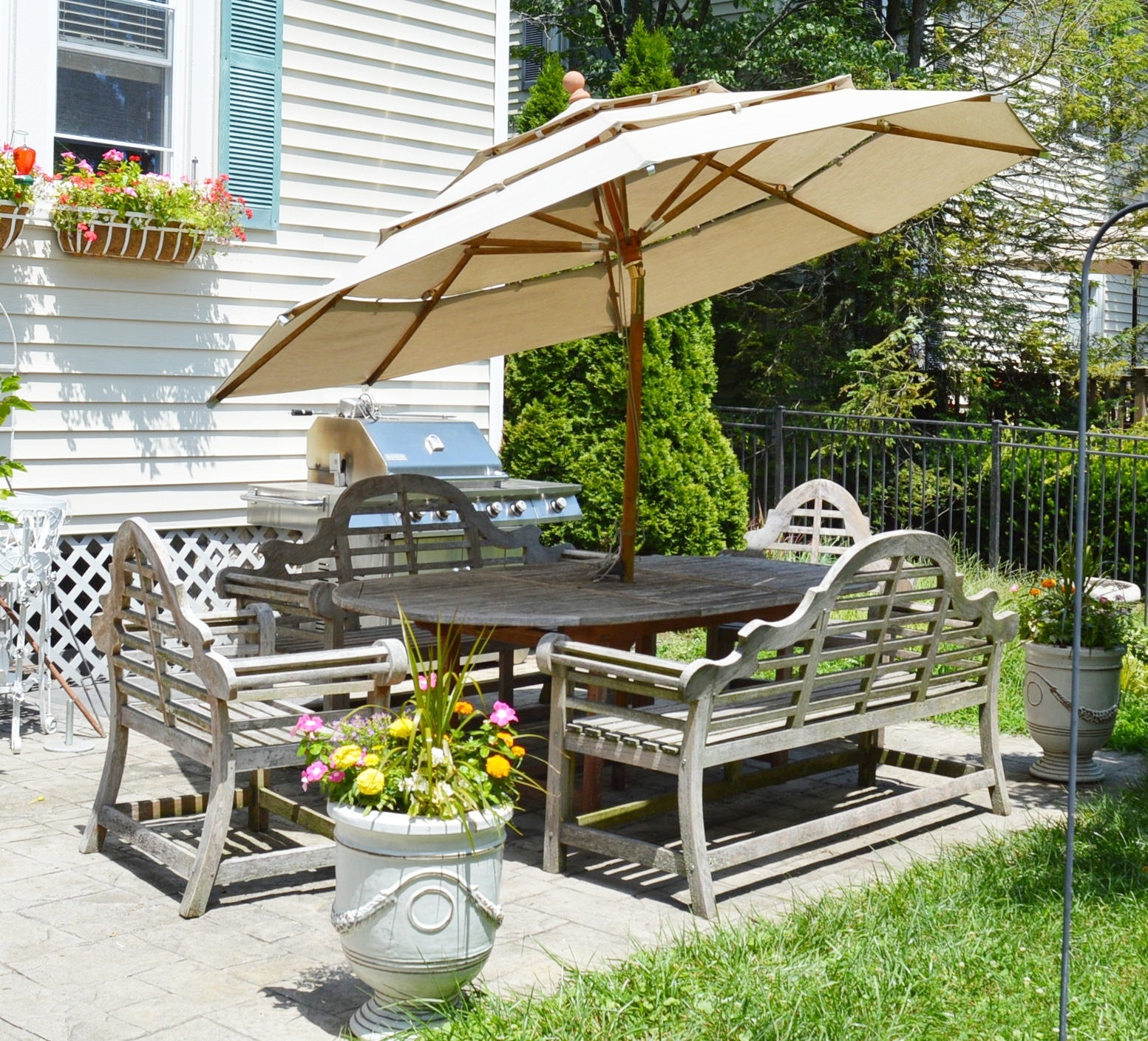 Teak Wood Patio Dining Set with Umbrella and Sunbrella Cushions