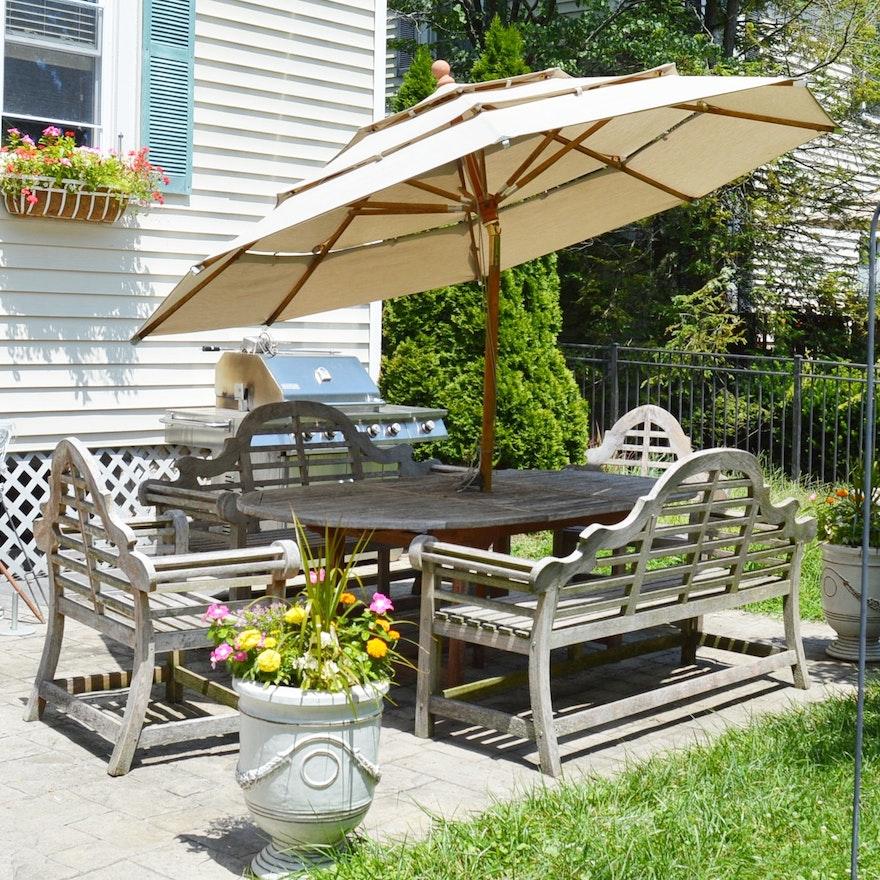 Teak Wood Patio Dining Set With Umbrella And Sunbrella Cushions Ebth