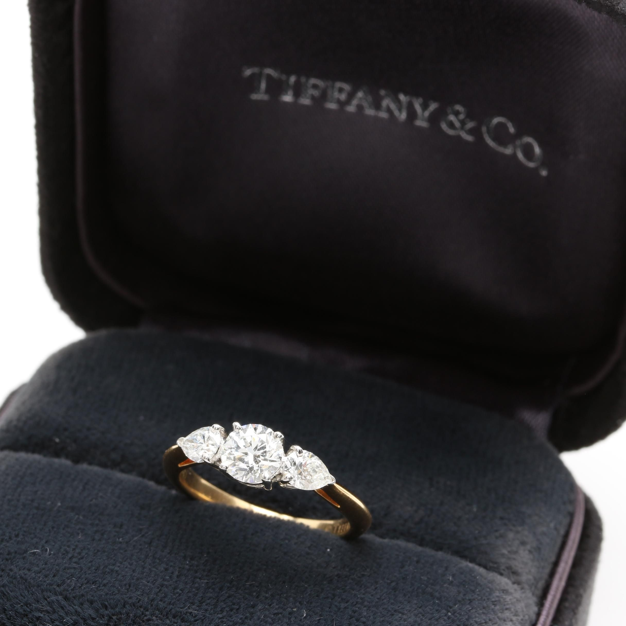 Tiffany & Co. Platinum and 18K Gold Diamond Ring with Tiffany & Co. Certificates