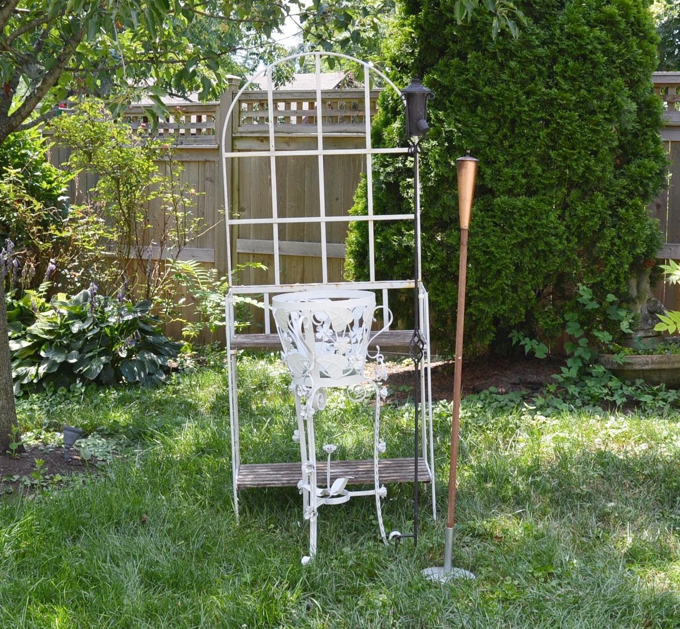 Garden Table, Planter and Tiki Lights