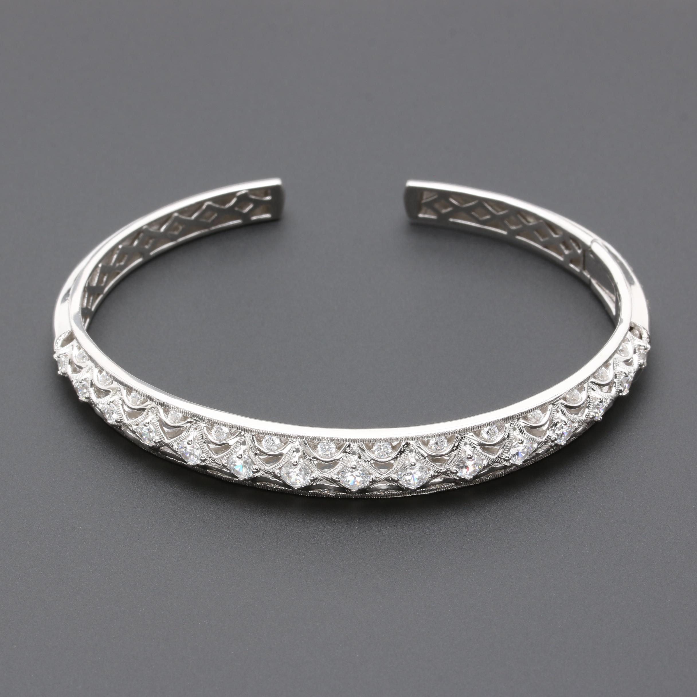 Tacori Sterling Silver Cubic Zirconia Thin Openwork Hinged Cuff Bracelet