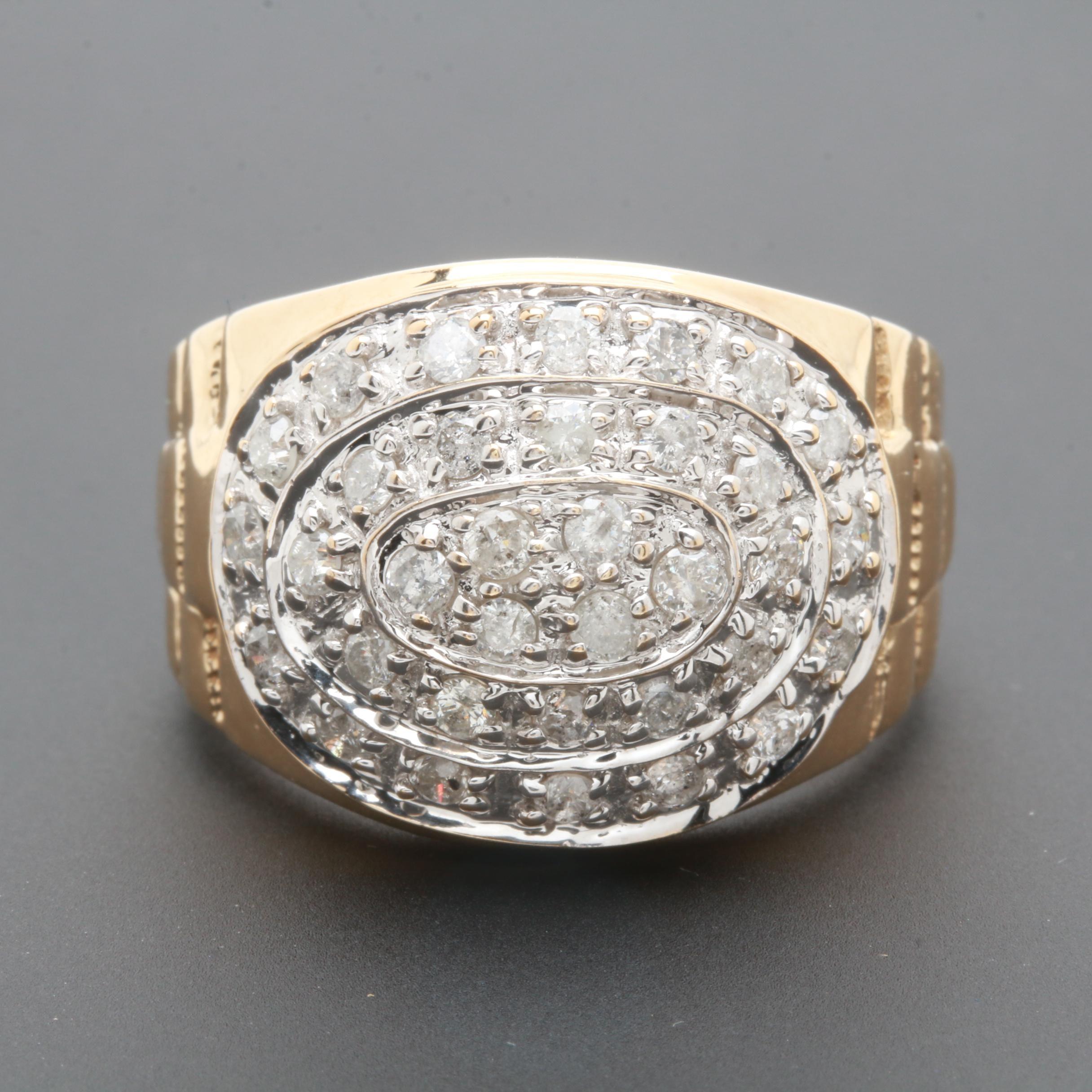 10K Yellow Gold 0.91 CTW Diamond Ring