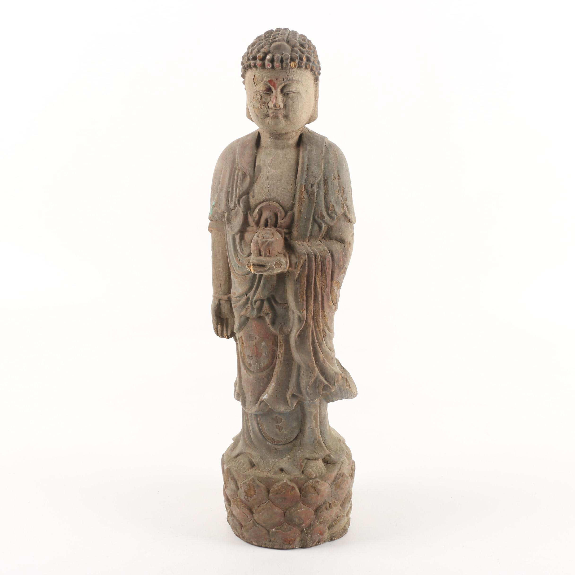 Carved Wooden Standing Buddhist Style Statue