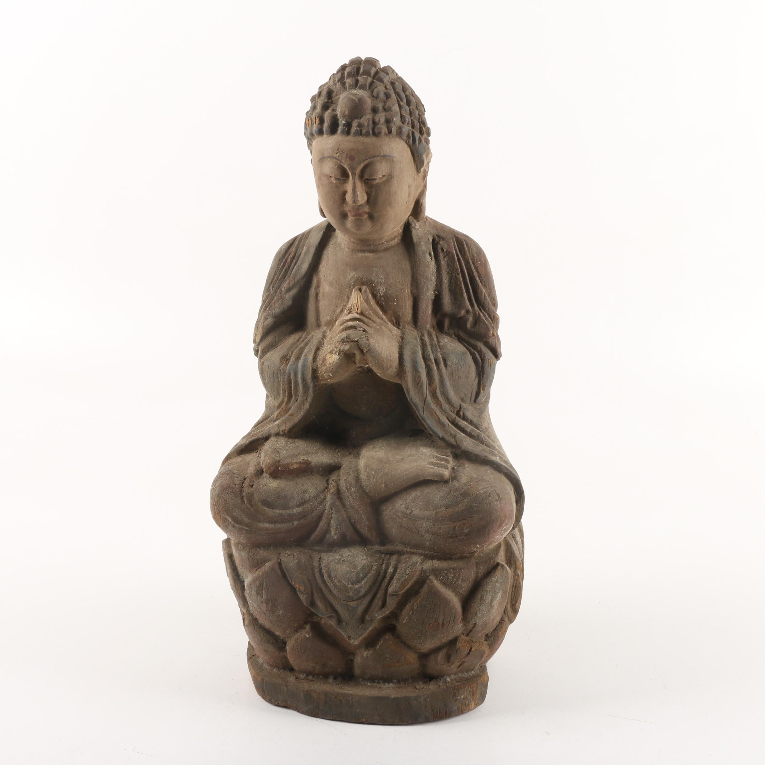 Carved Wooden Meditative Buddhist Style Statue