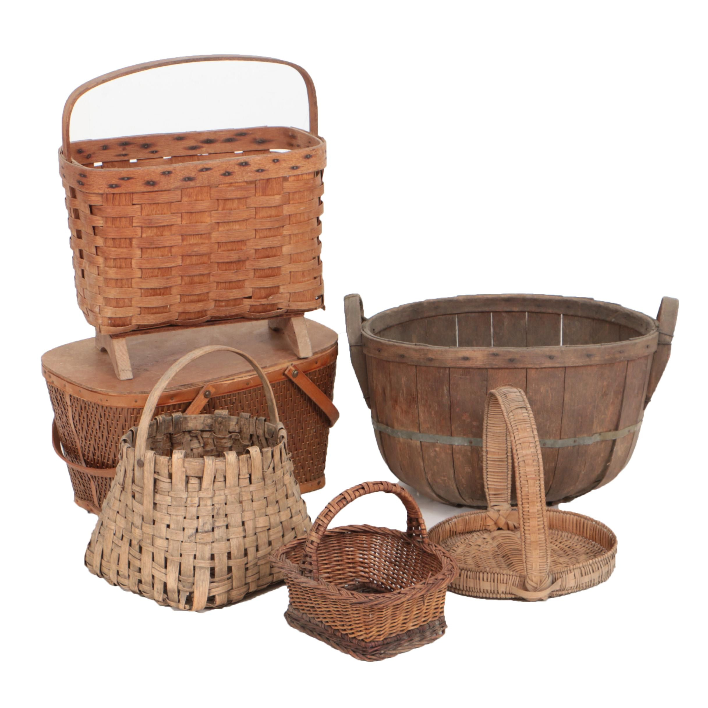 Circa 1950s Red-Man Picnic Basket with Decorative Handled Baskets