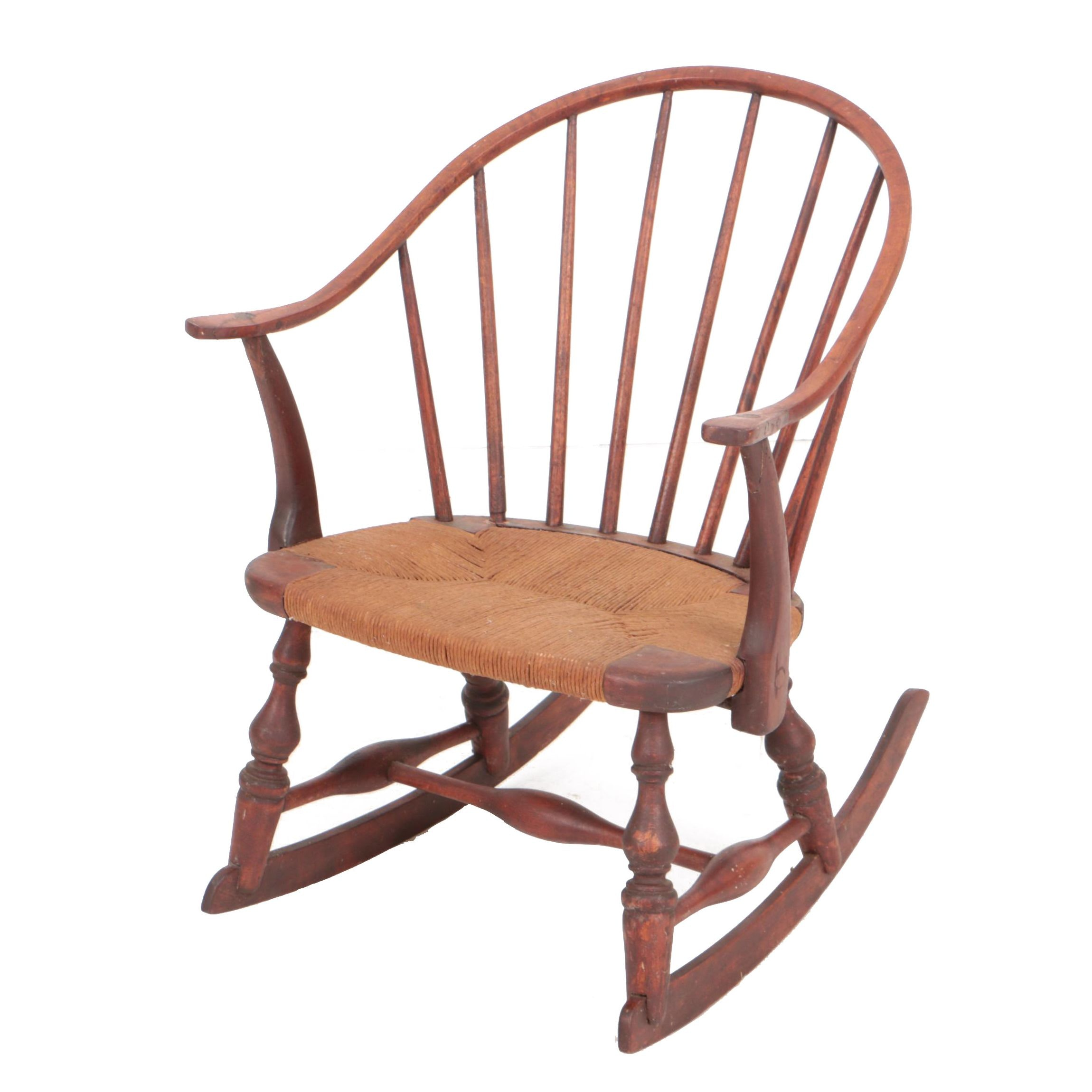 Vintage Windsor Style Child's Rocking Chair in Red Wash
