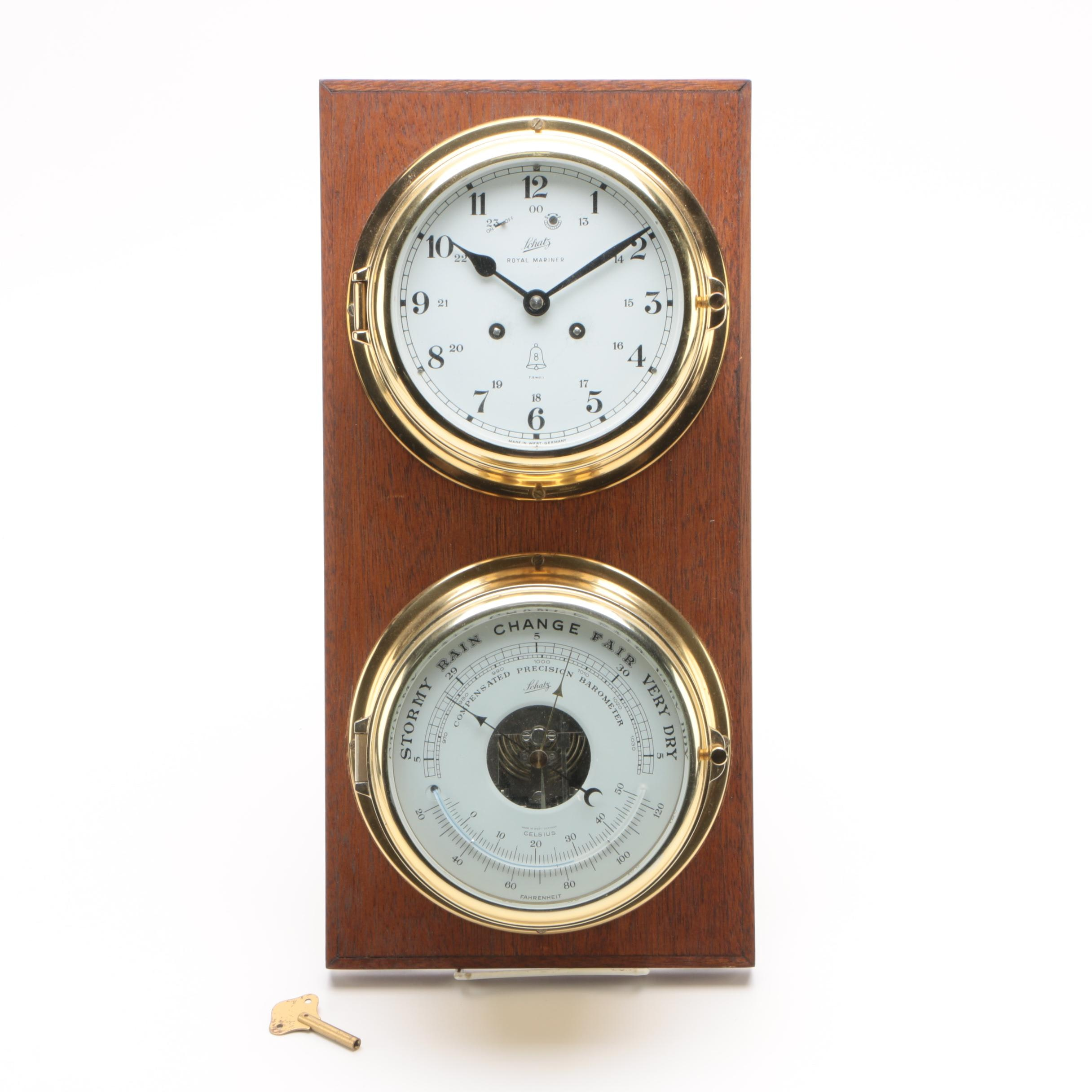 "German Schatz Mounted ""Royal Mariner"" Clock with Compensated Precision Barometer"