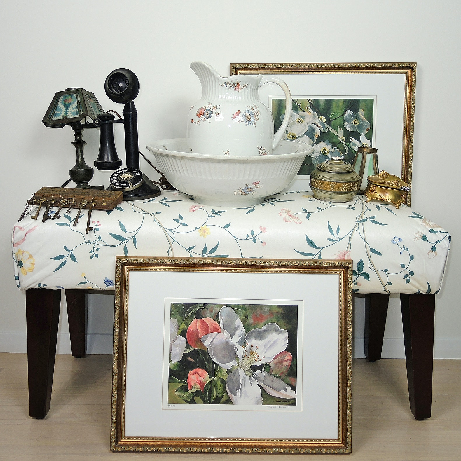 Bedroom Bench, Wash Basin with Pitcher, Floral Art and Antique Decor
