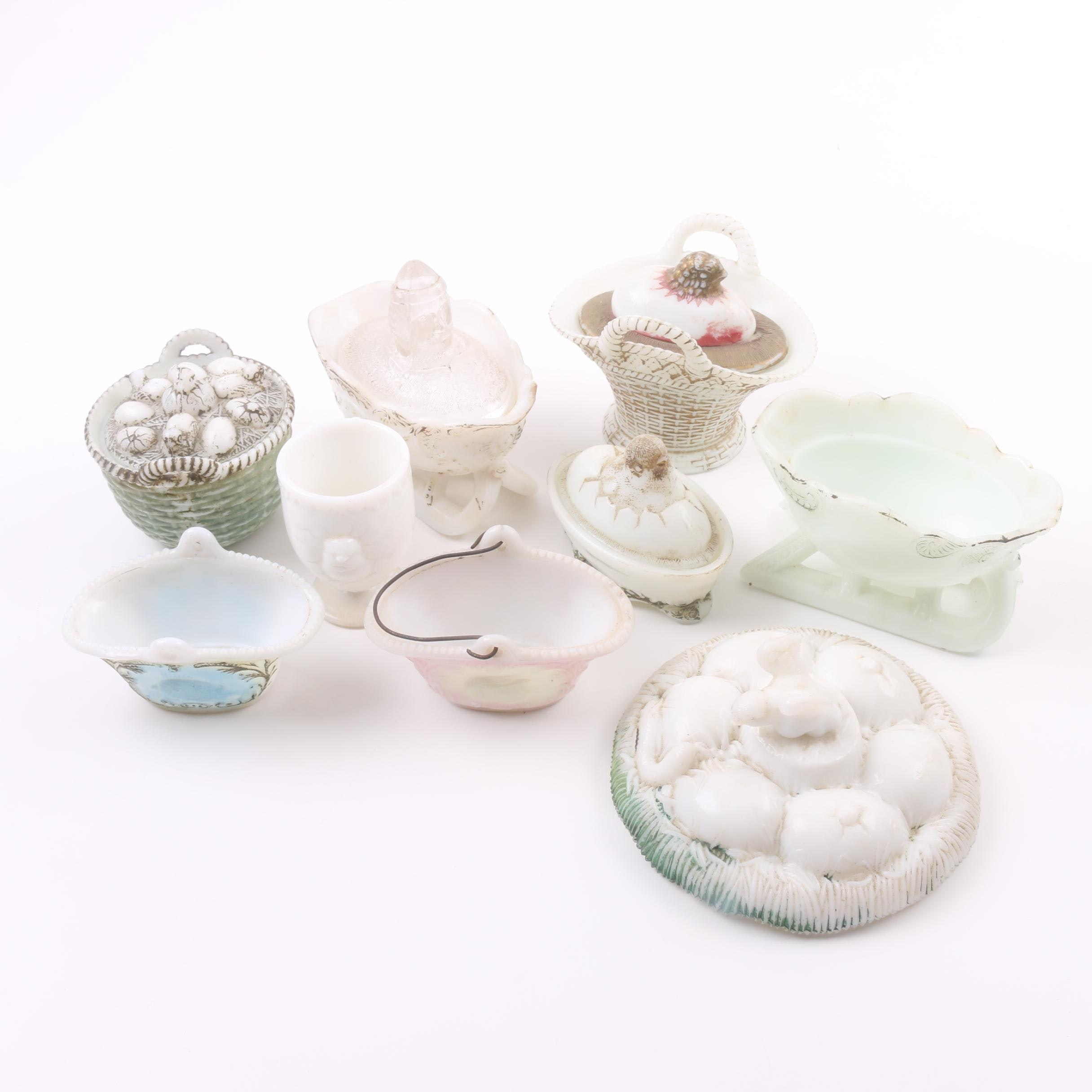 Antique and Vintage Milk Glass Baskets, Sleighs and Trinket Boxes