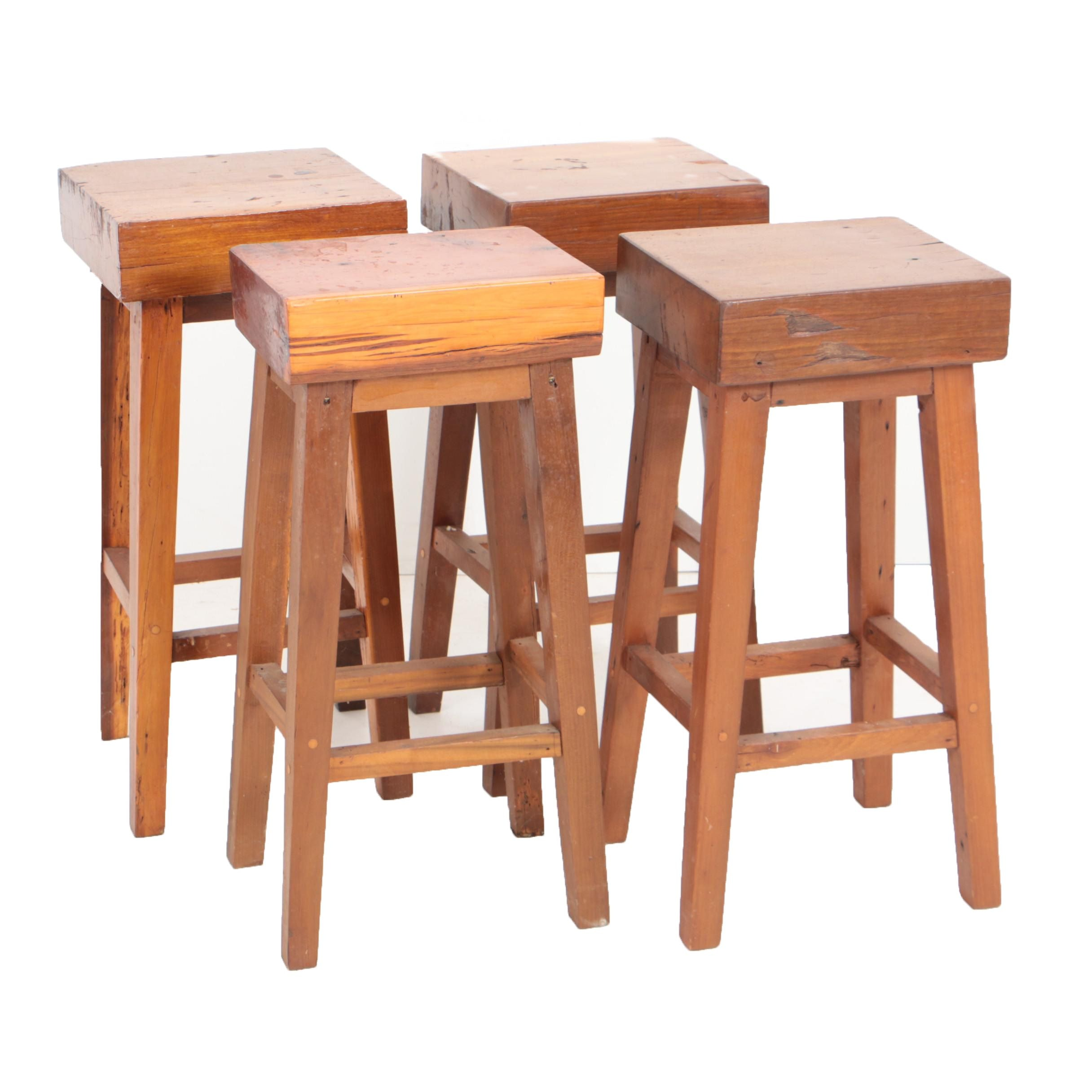 Vintage Cherry Butcher Block Style Stools