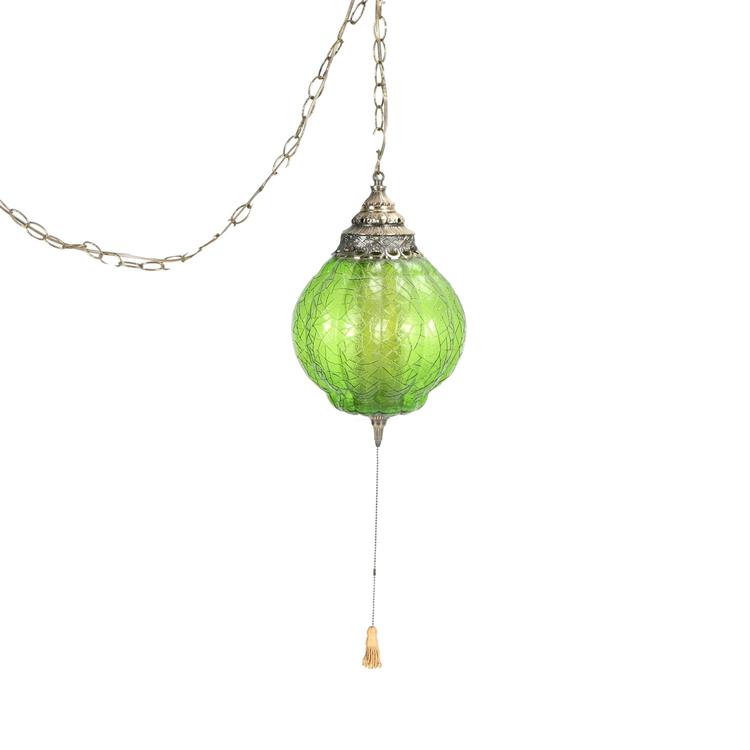 Vintage Pendant Light with Green Glass Shade