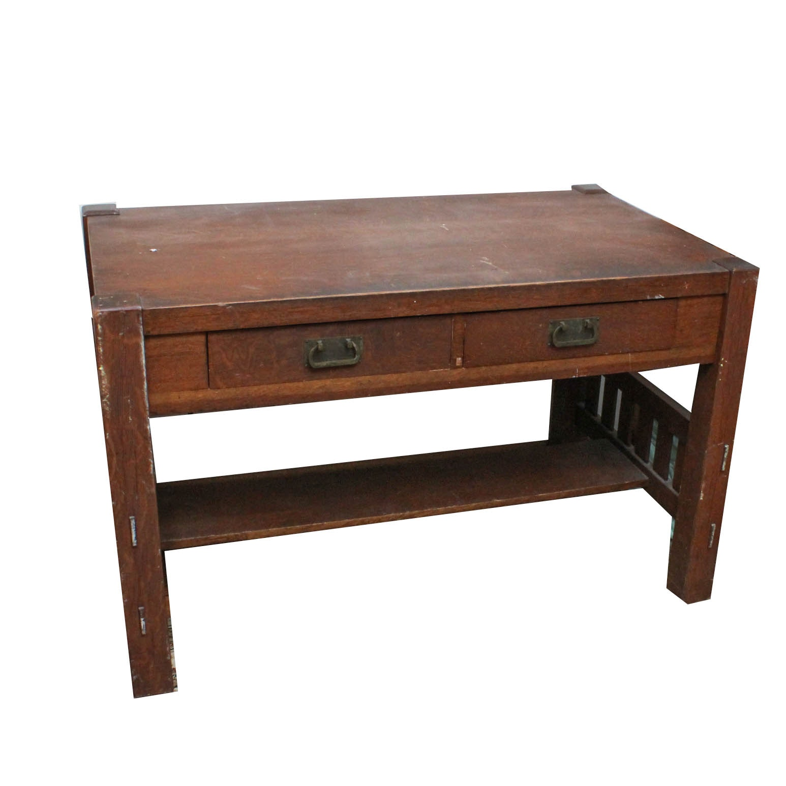 Antique Oak Arts and Crafts Library Table