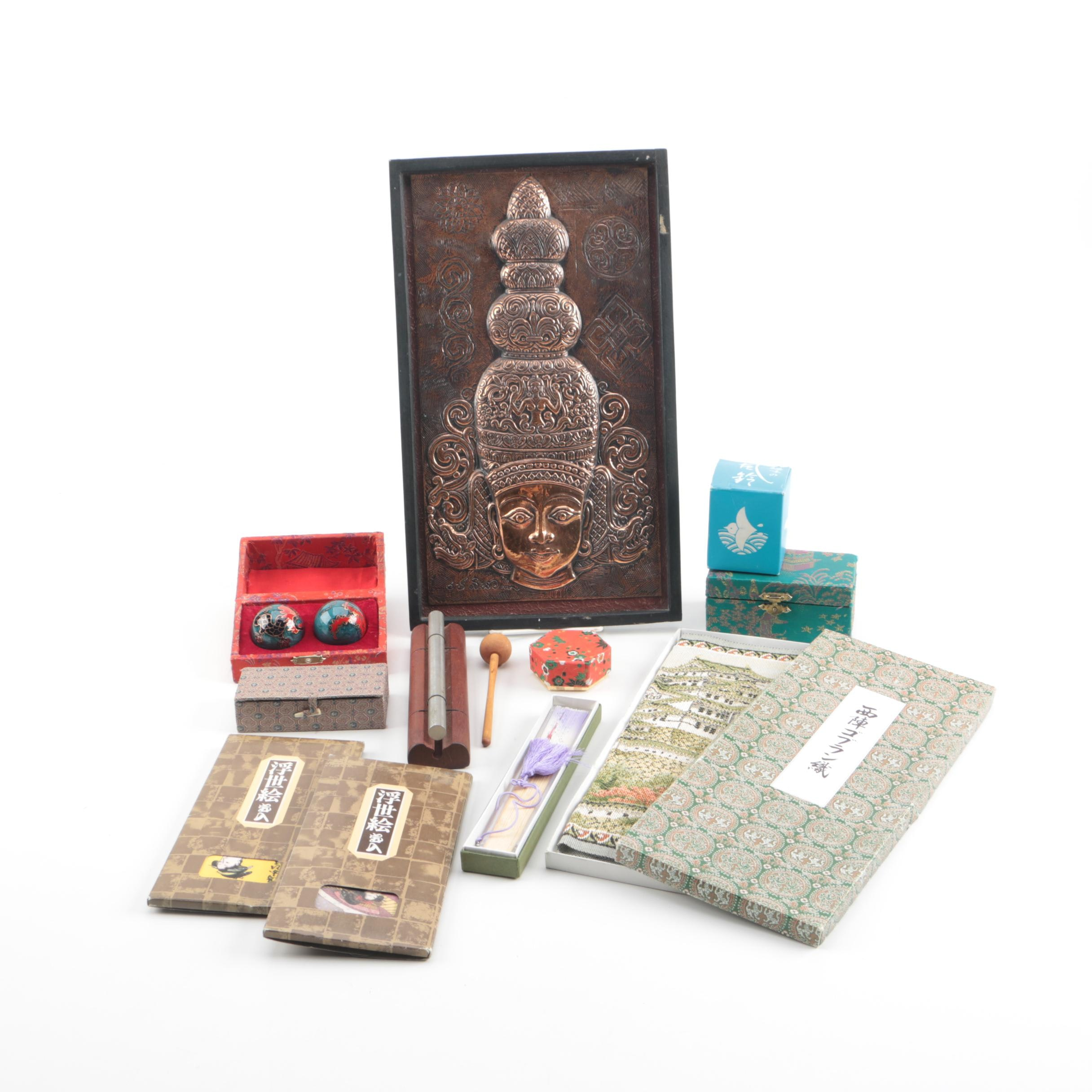Asian Souvenirs and Decor Including JW Stannard Energy Chime and Baoding Balls