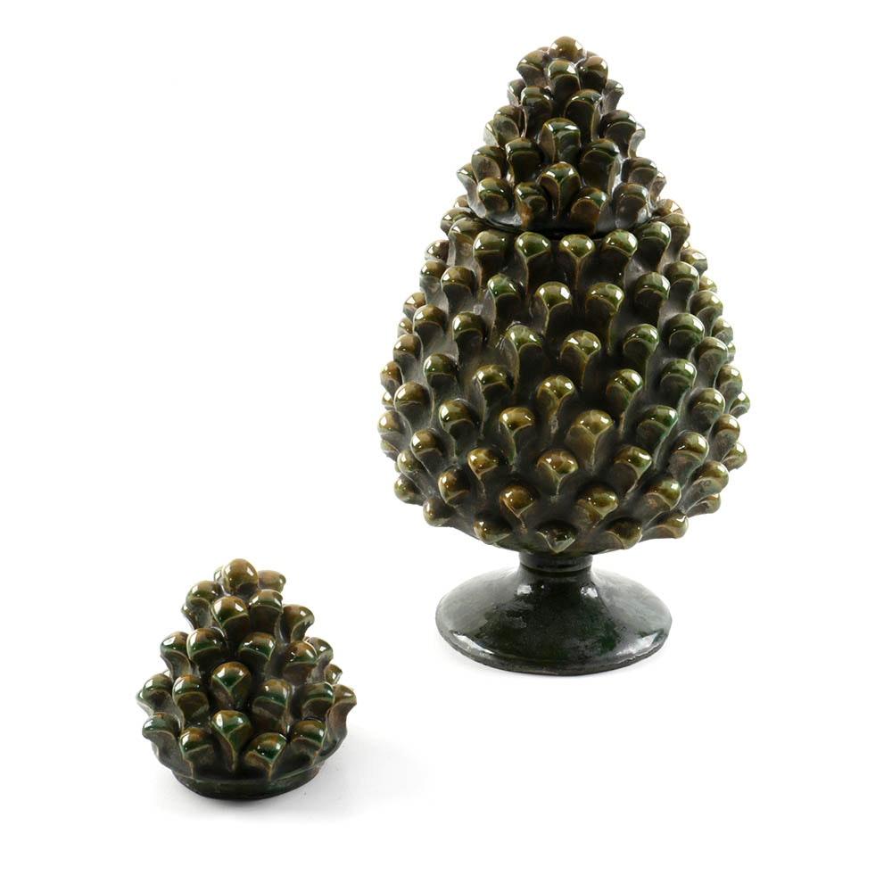 Vintage Pinecone-Shaped Lidded Ceramic Vessel