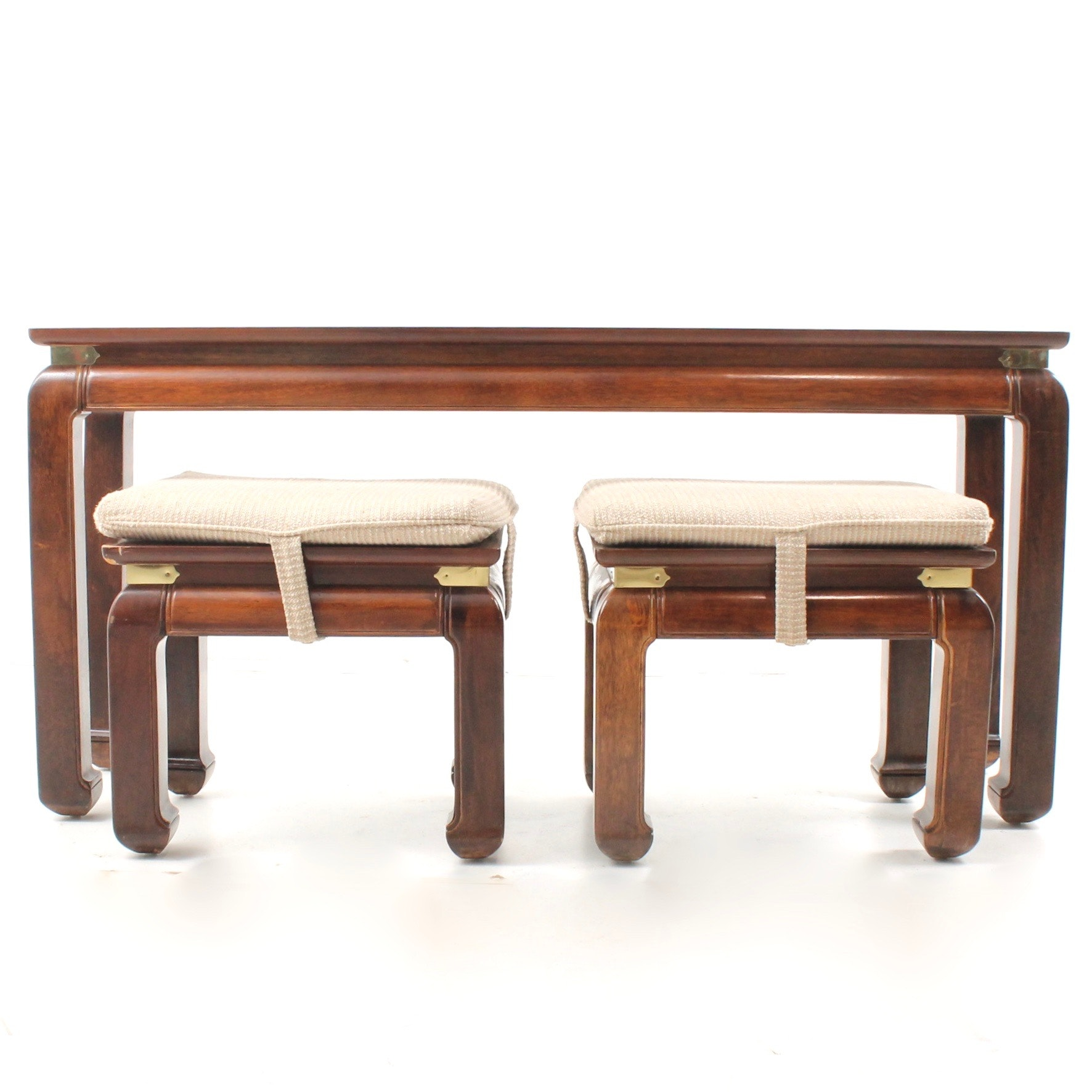 Chinese Inspired Smoked Glass Top Sofa Table and Two Benches