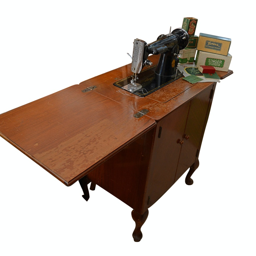 Vintage Singer Sewing Machine With Cabinet Accessories EBTH Cool Antique Singer Sewing Machine Value