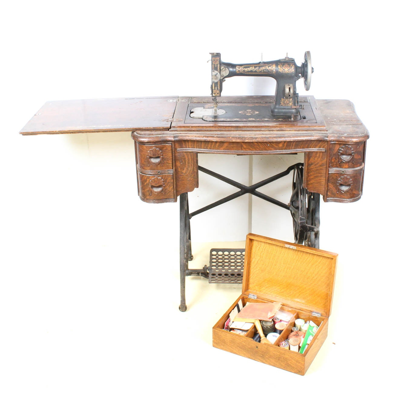 Antique White Family Rotary Sewing Machine Treadle Table