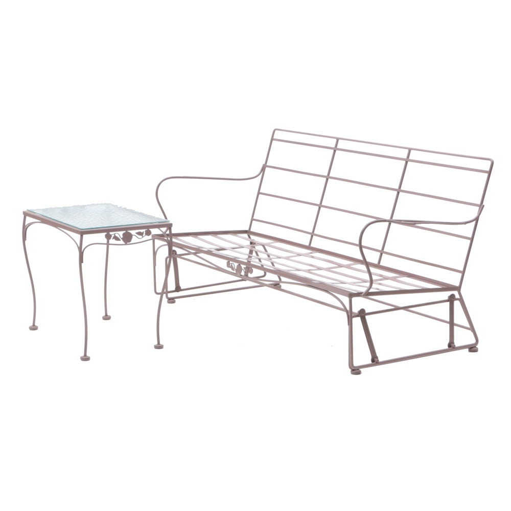 Outdoor Glider Bench with End Table