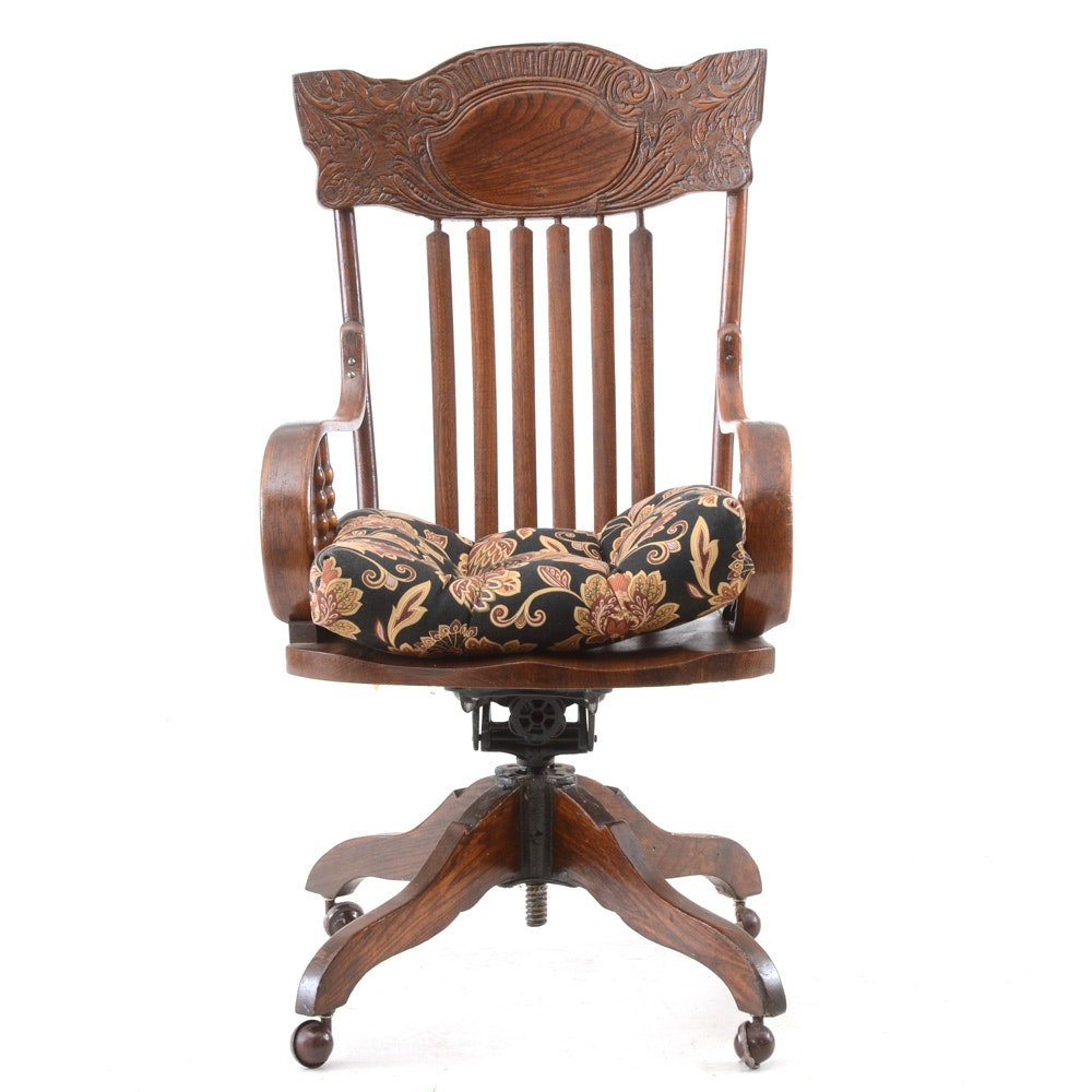 Vintage Oak Press-Back Desk Chair