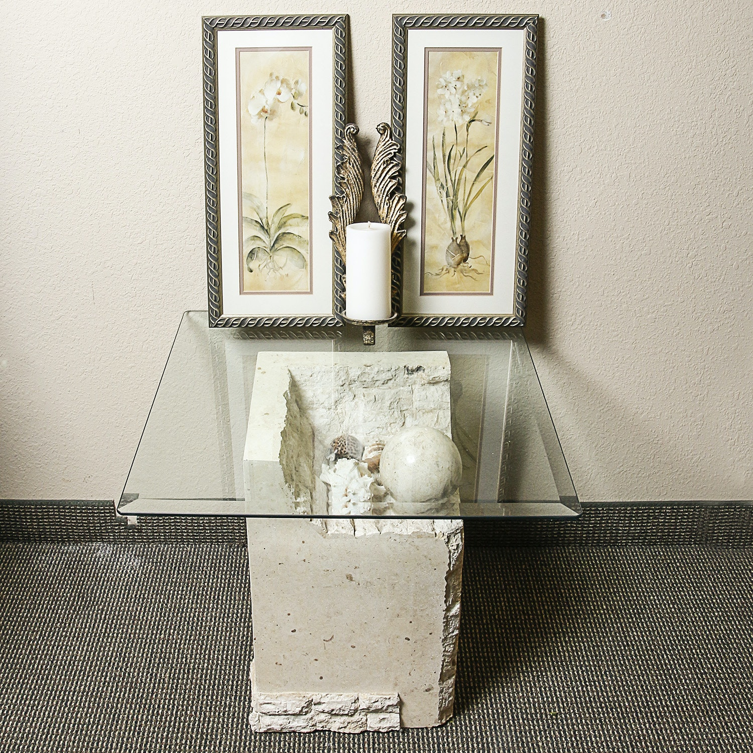 Glass and Cement Accent Table with Candleholder and Framed Floral Prints