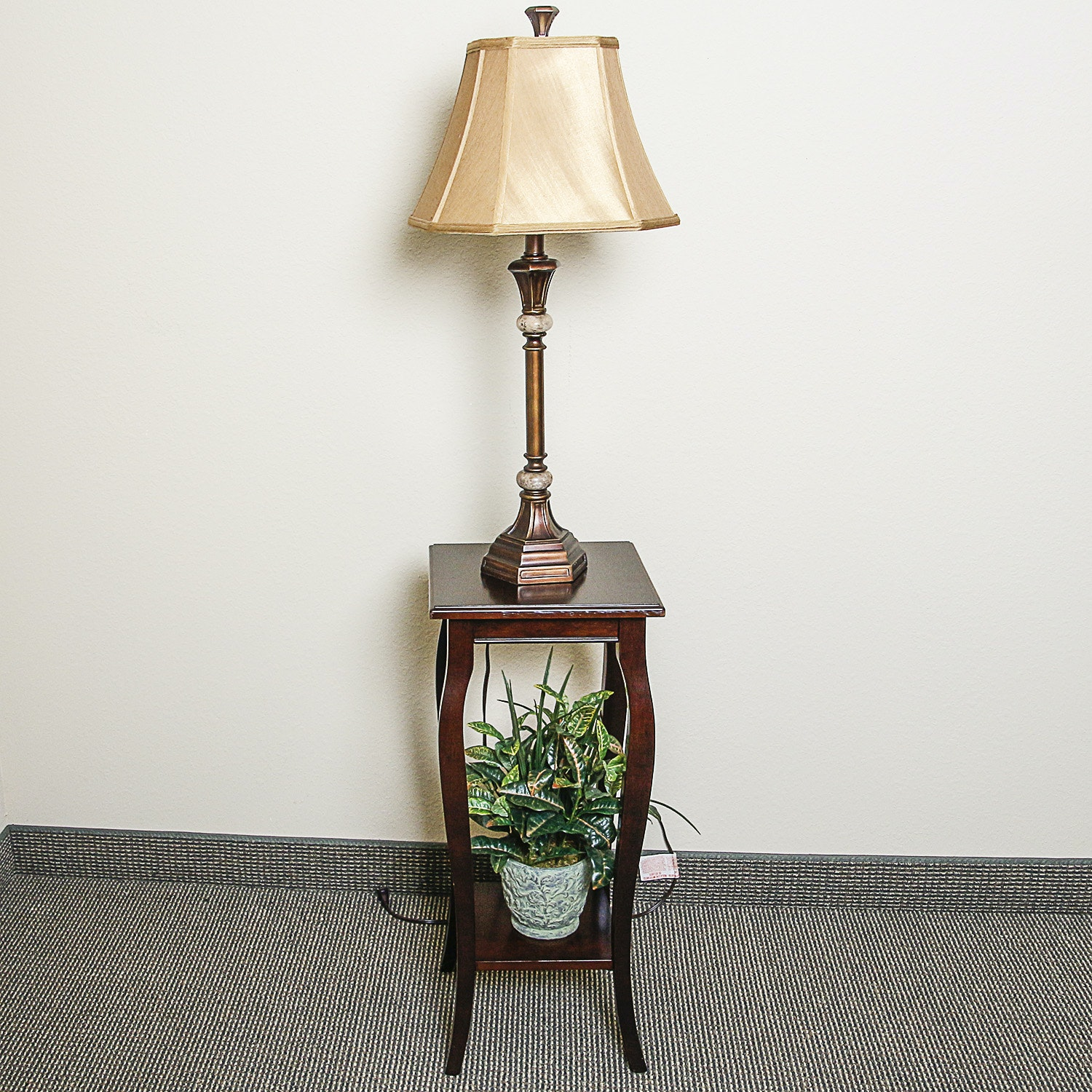 Table Lamp, Accent Table and Plant