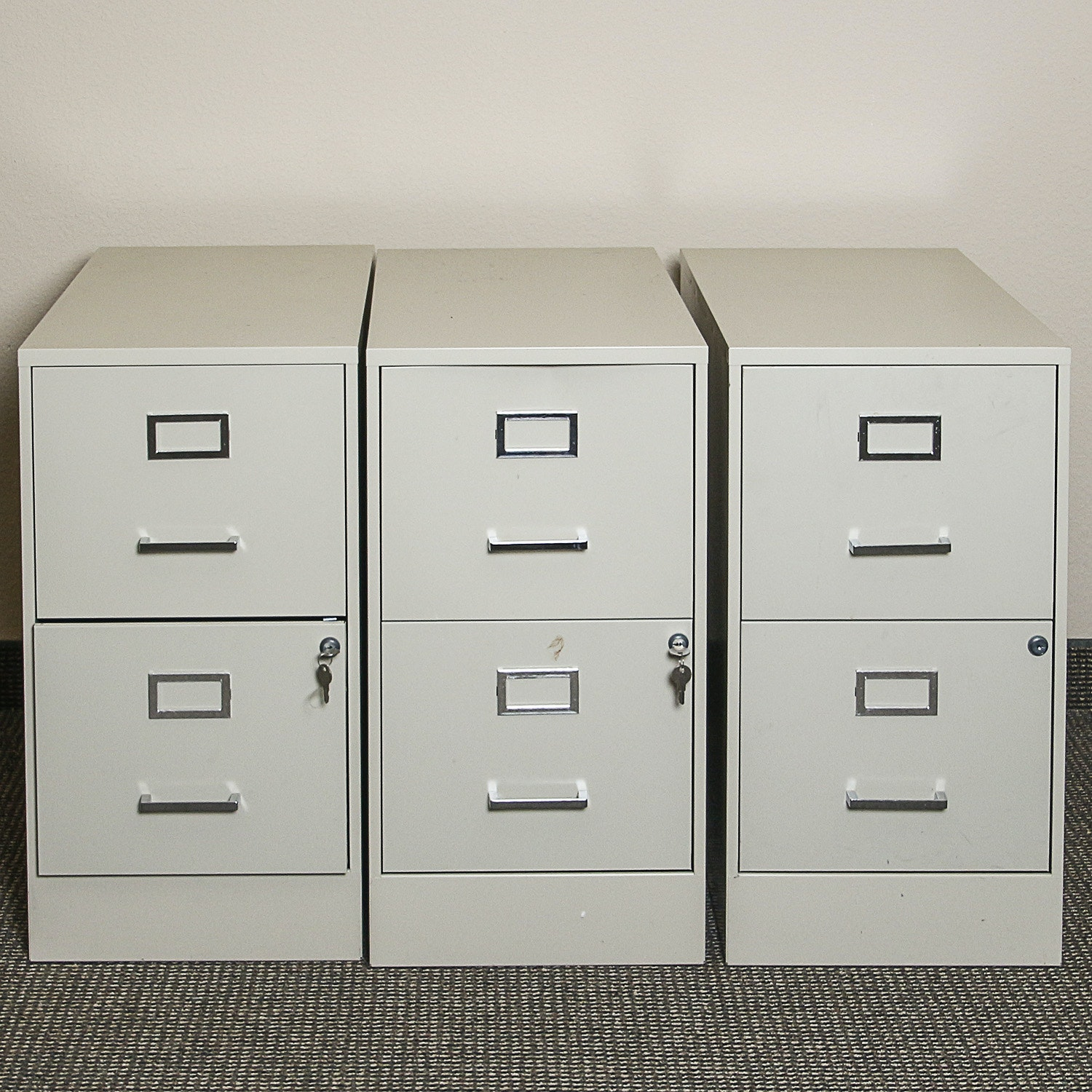 Beige Two-Drawer Filing Cabinets