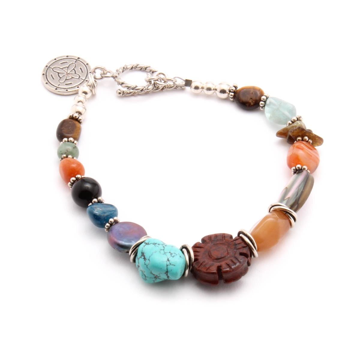 Sterling Silver Gemstone Beaded Bracelet