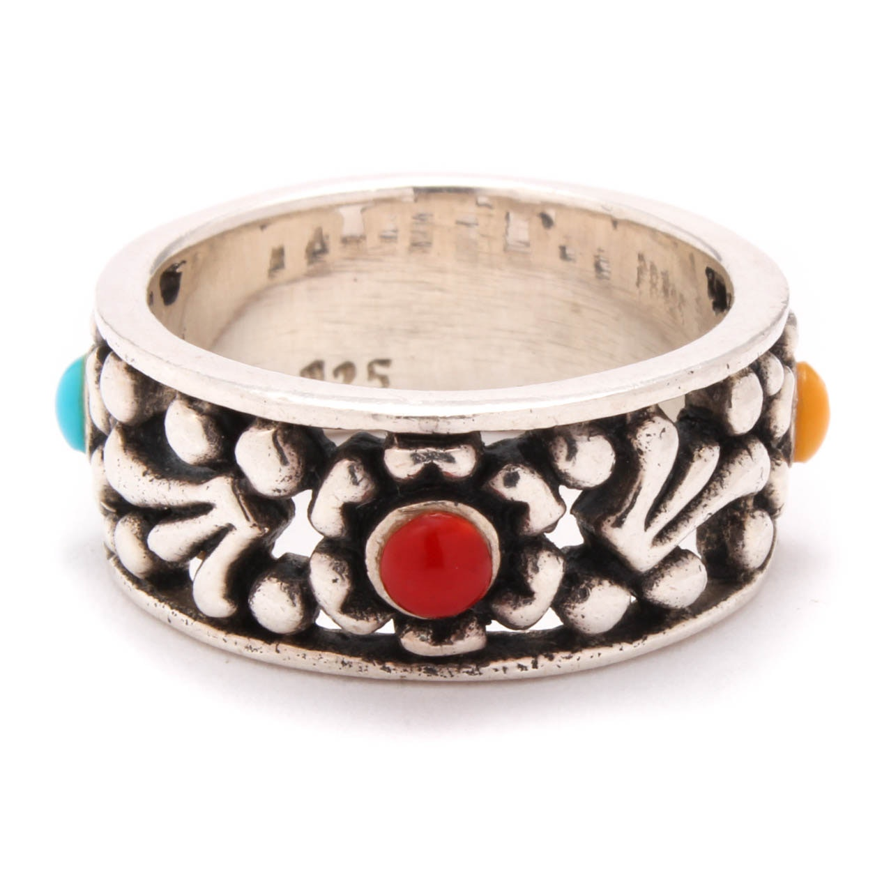 Sterling Silver Synthetic Gemstone Ring