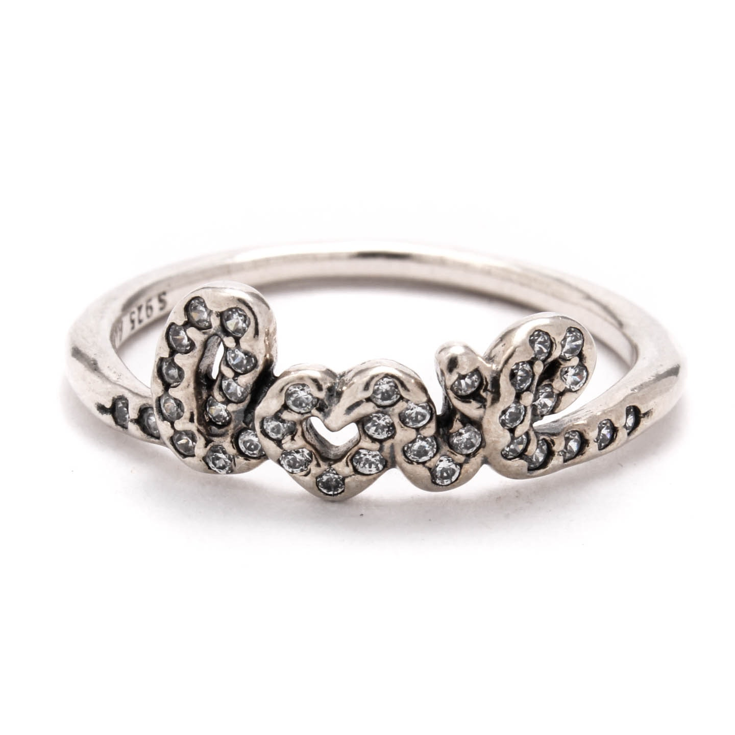 """Sterling Silver Cubic Zirconia """"Love"""" Ring"""