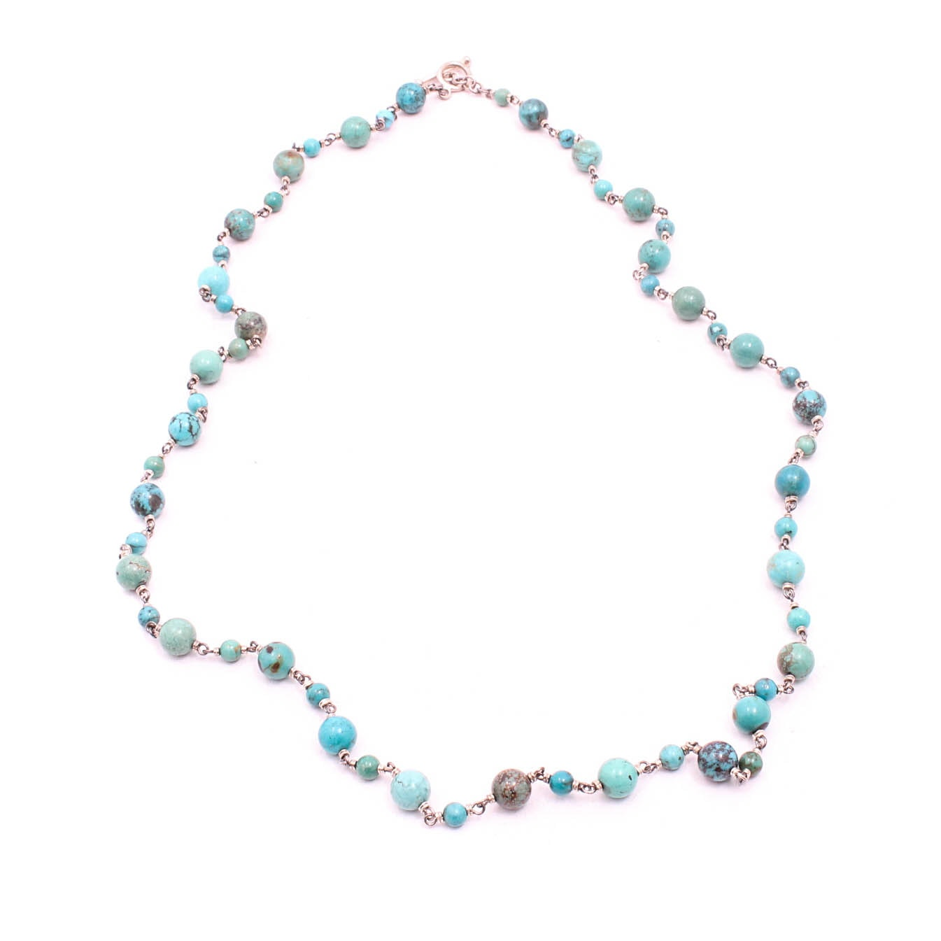 Sterling Silver Dyed Turquoise Beaded Necklace