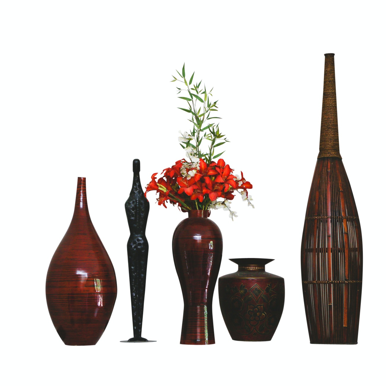 Ceramic and Metal Vases with Hammered Metal Figurine