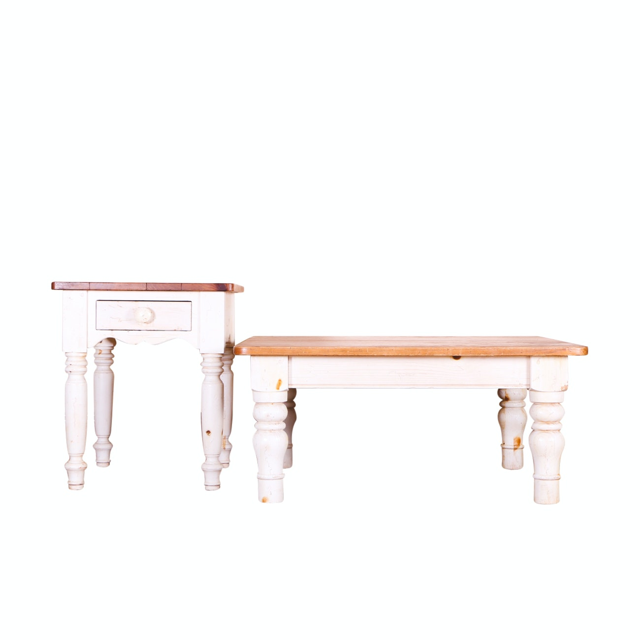 Ethan Allen Pine Coffee Table and End Table