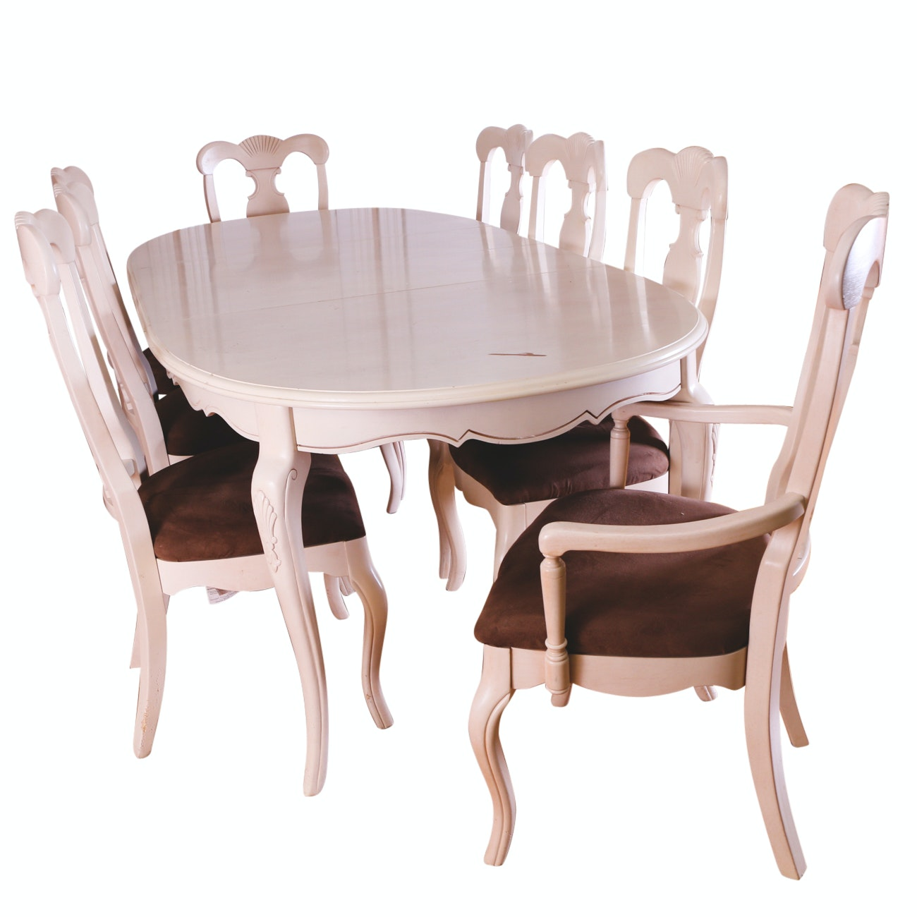 Wooden Louis XV Style Dining Table and Chairs