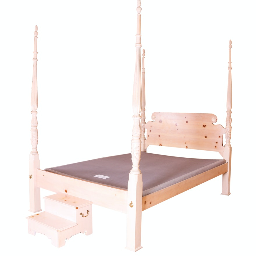 Pine Four Poster Bed with Stool : EBTH