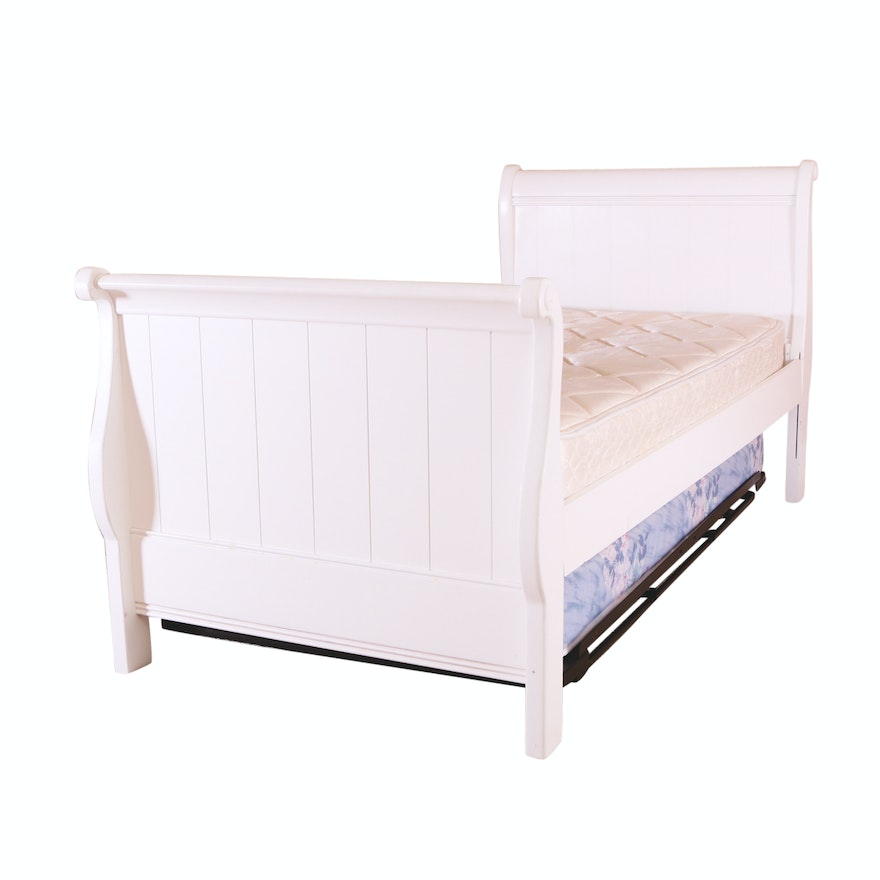 Stanley Furniture Twin Size Sleigh Bed Trundle Ebth