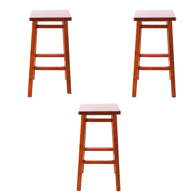 Mission Style Wood Bar Stools