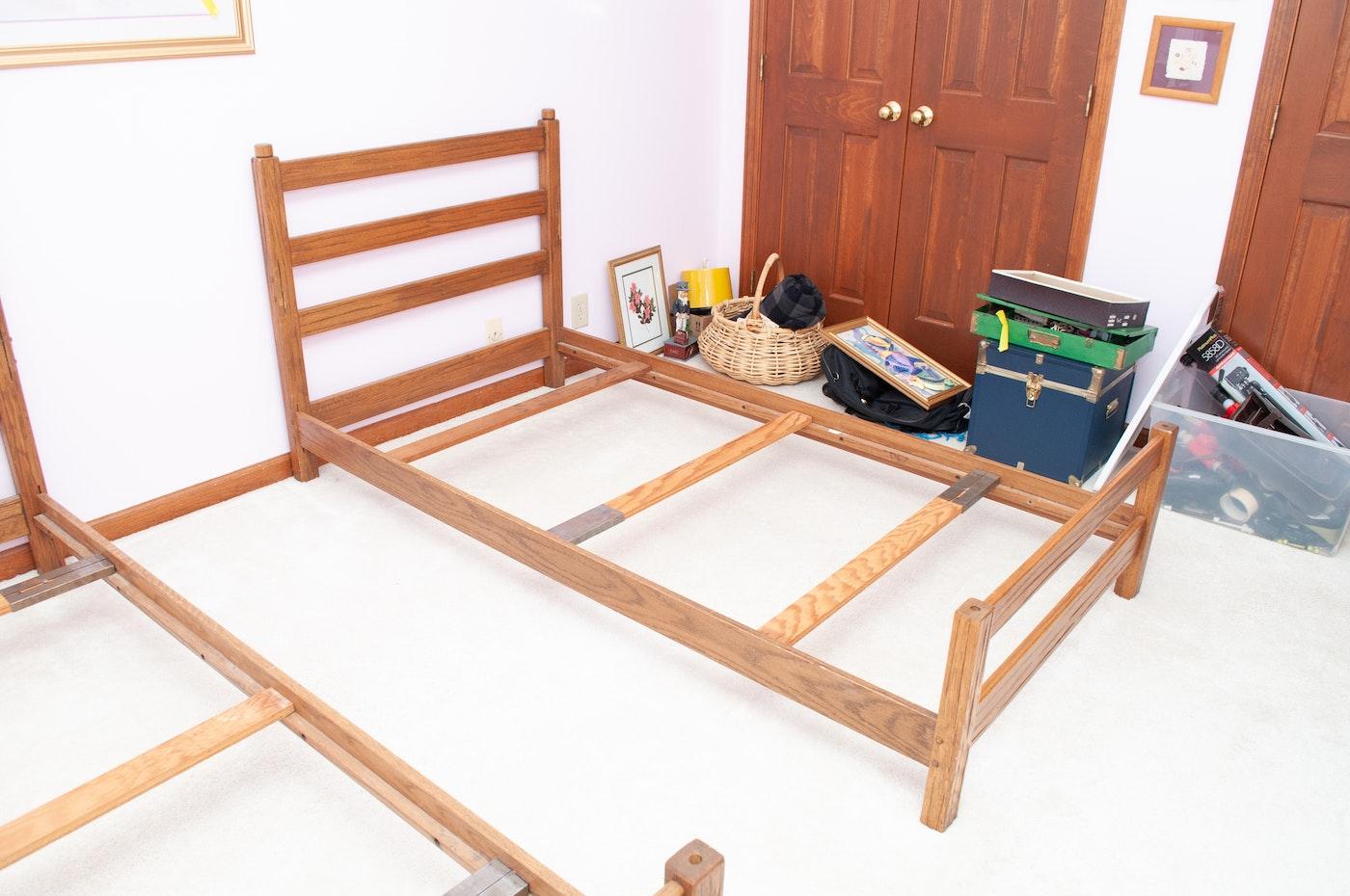 Vintage A Brandt Ranch Oak Convertible Bunk Twin Beds