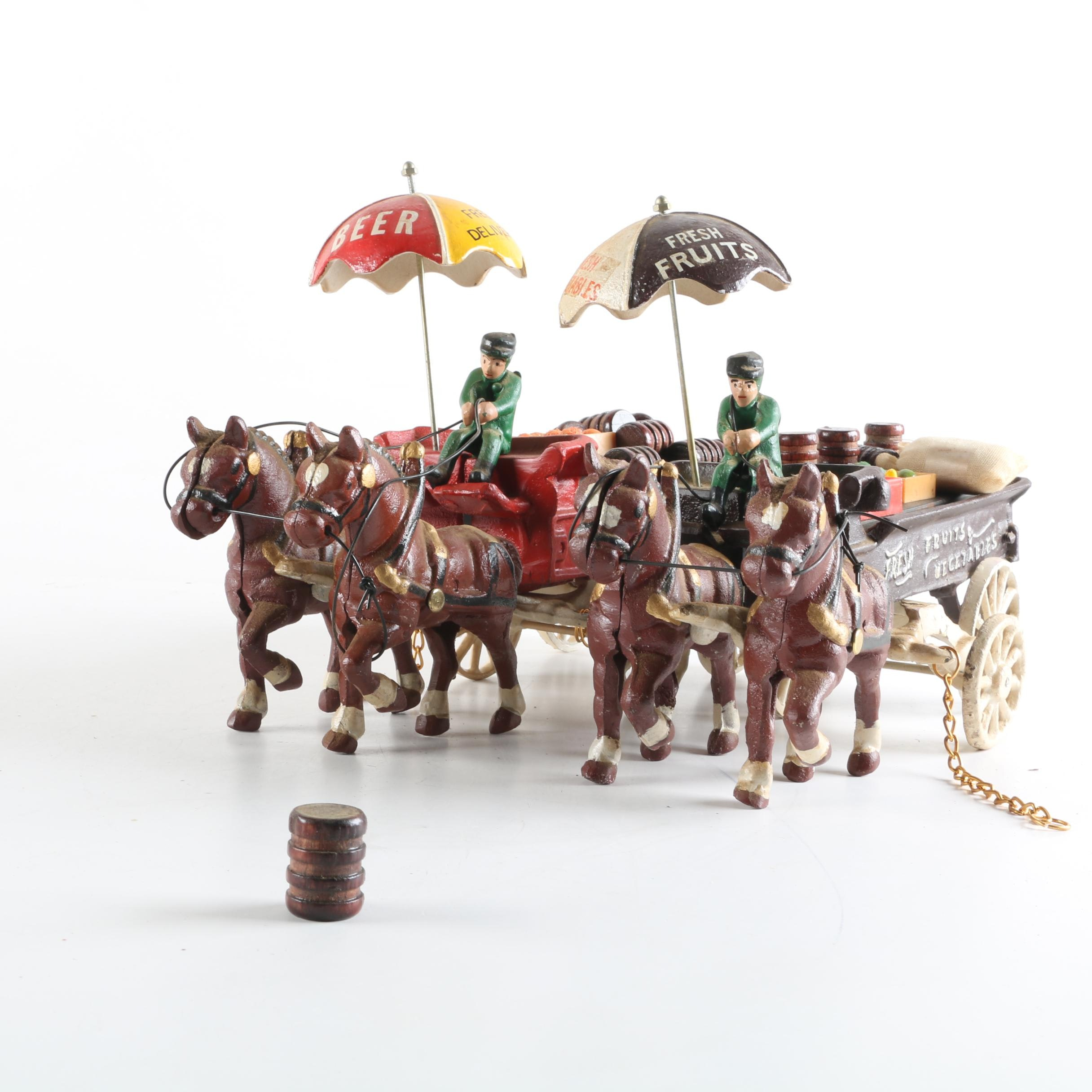 Cast Iron Horse Drawn Beer and Vegetable Carts