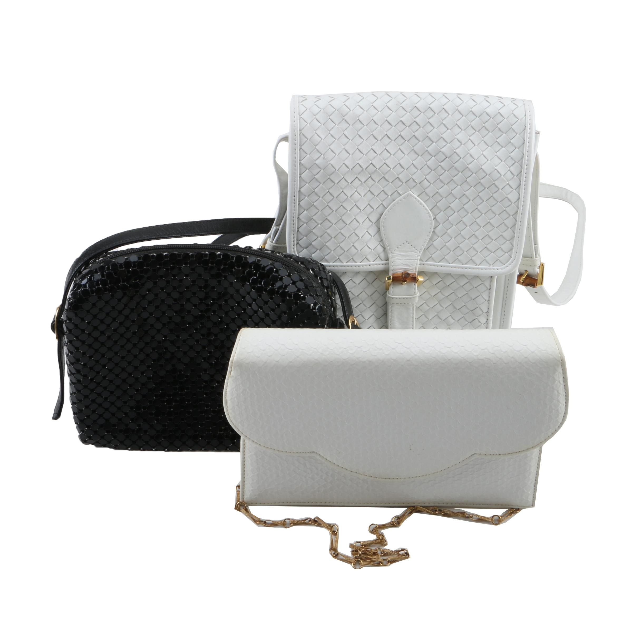 Black Metal Mesh and White Woven Leather and Embossed Leather Handbags