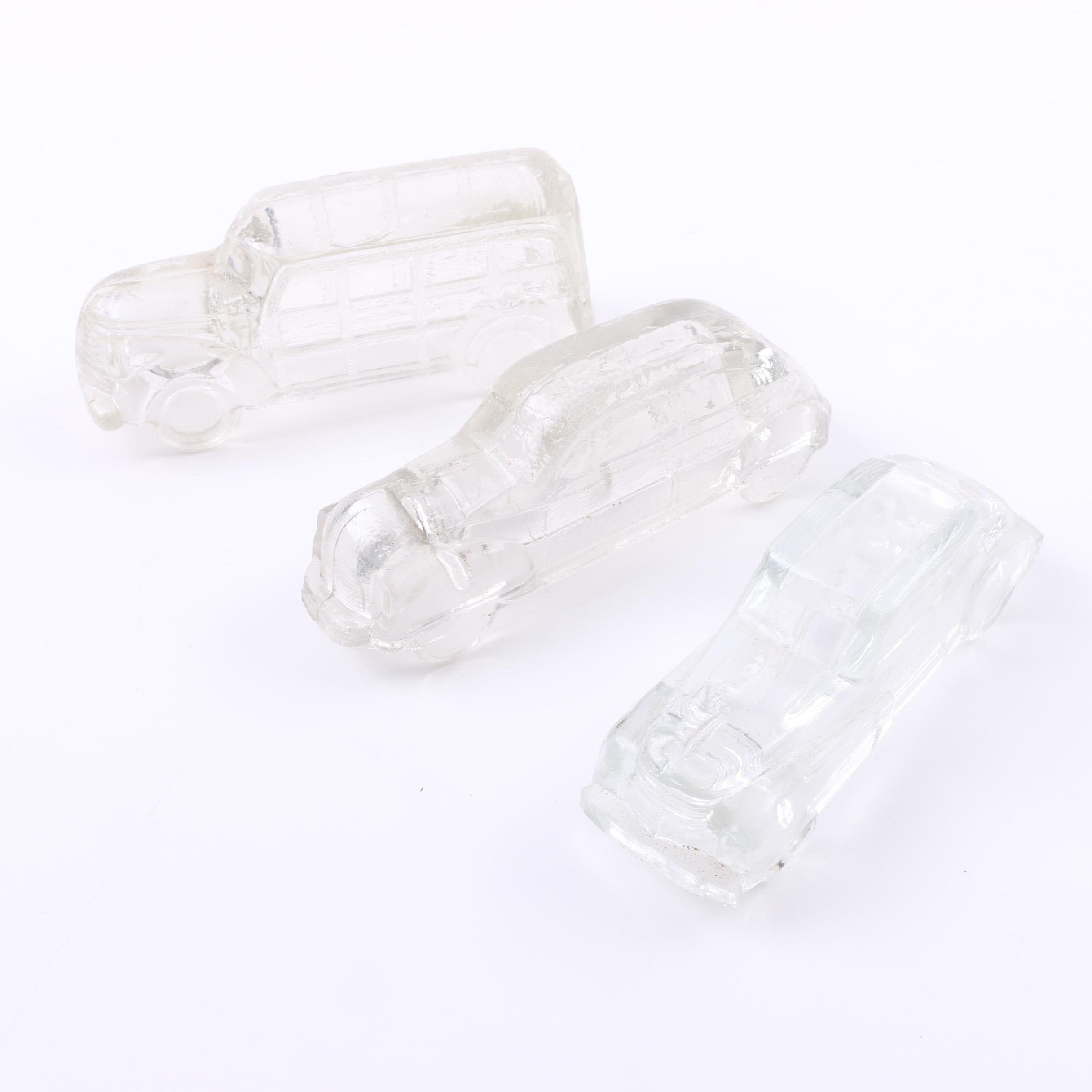 Early 20th Century Pressed Glass Figural Car Candy Canisters