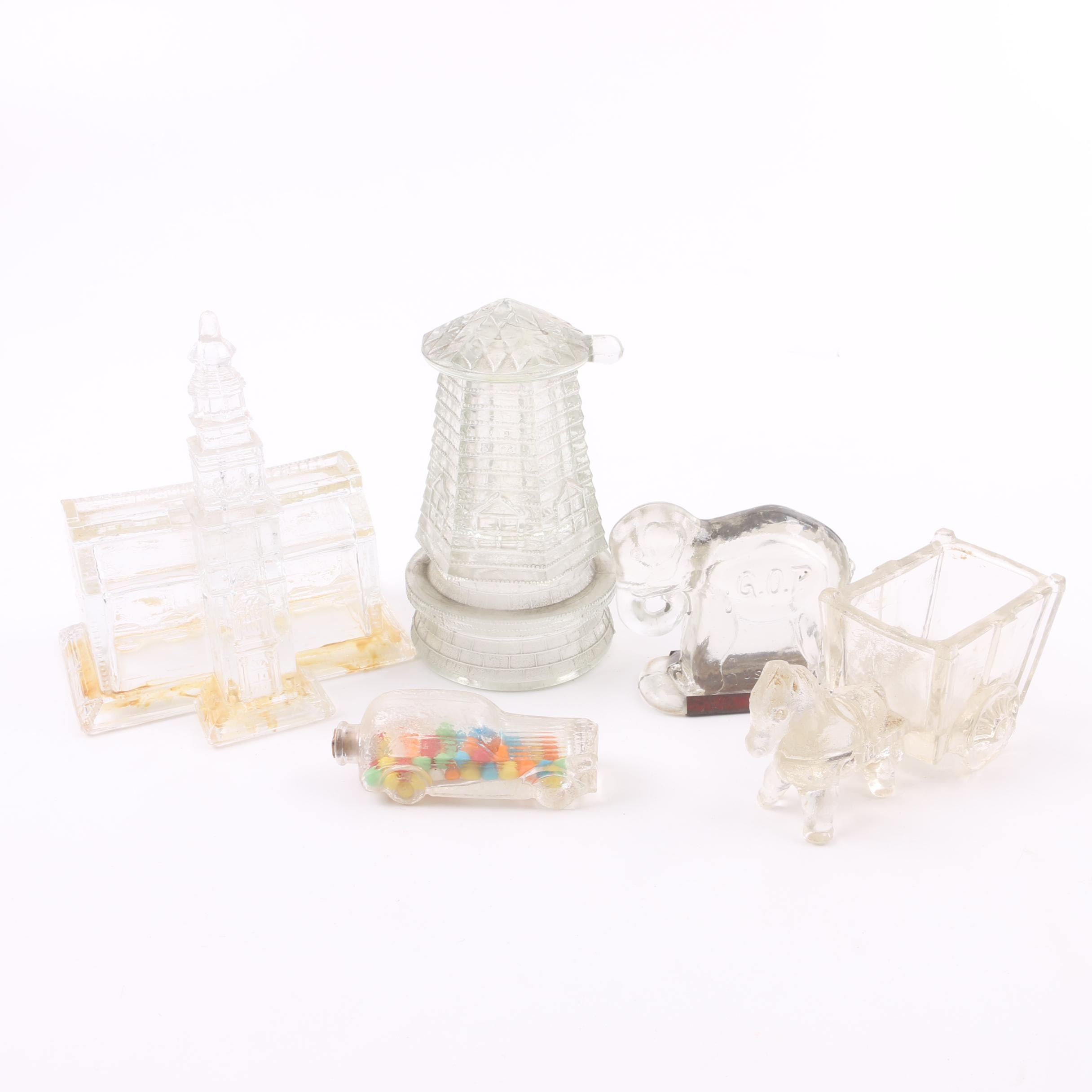 Vintage Pressed Glass Figural Candy Canisters