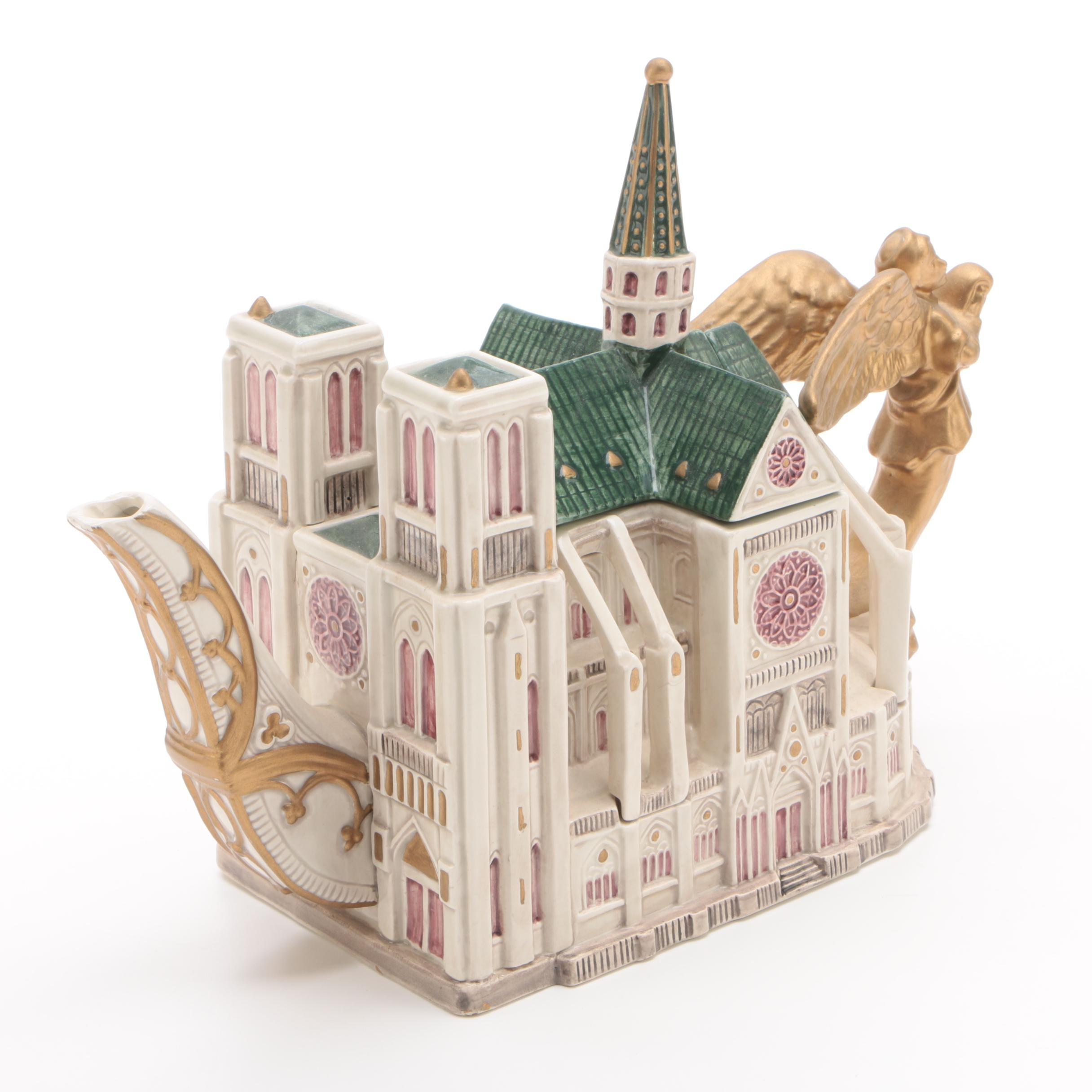 """Limited Edition """"Notre Dame Cathedral"""" Teapot by Fitz and Floyd"""