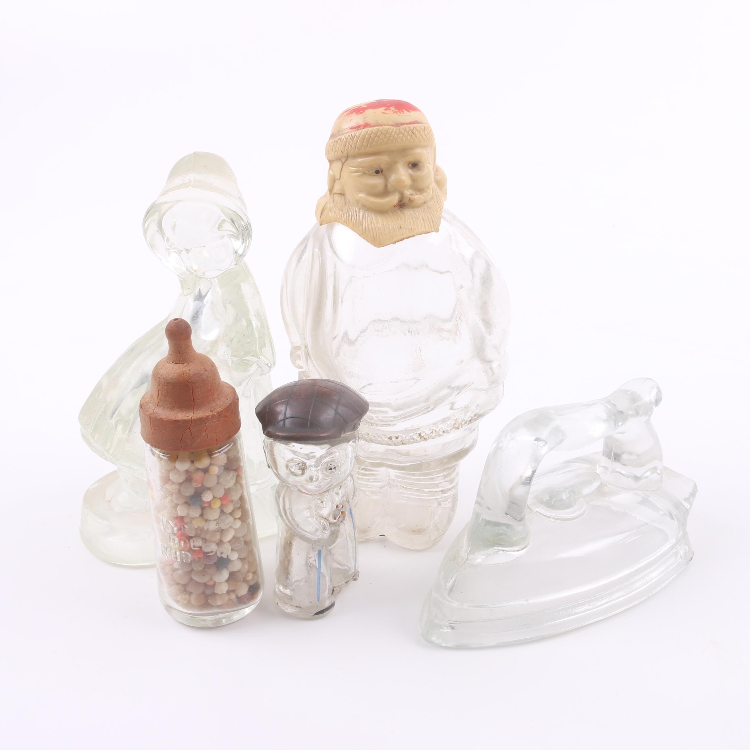 Vintage Pressed Glass Candy Canisters Including Santa Claus