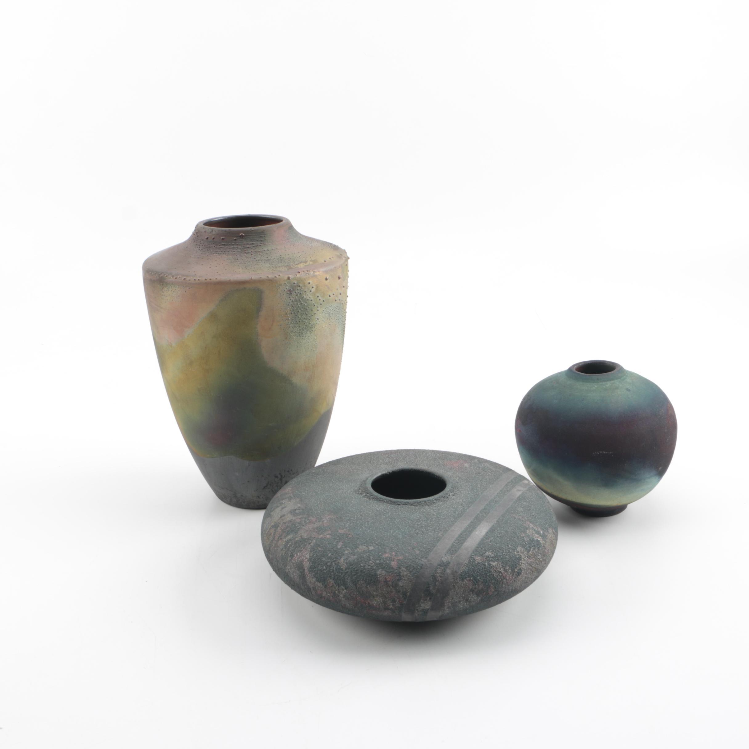 Signed L.A. Lewis and Rhonda Cearlock Raku Art Pottery Vases