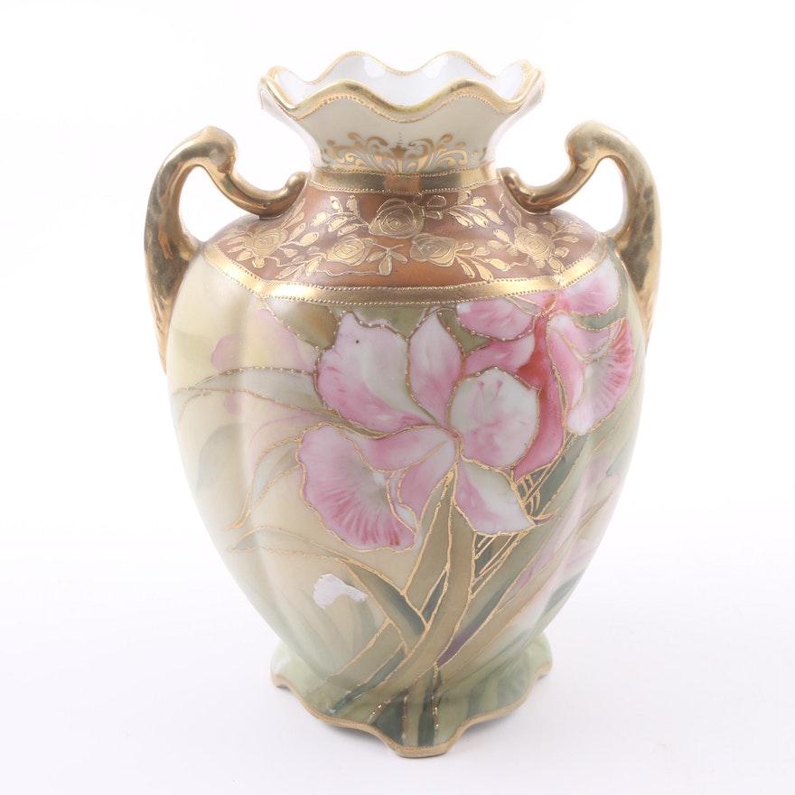 Vintage Nippon Hand Painted Porcelain Vase Ebth