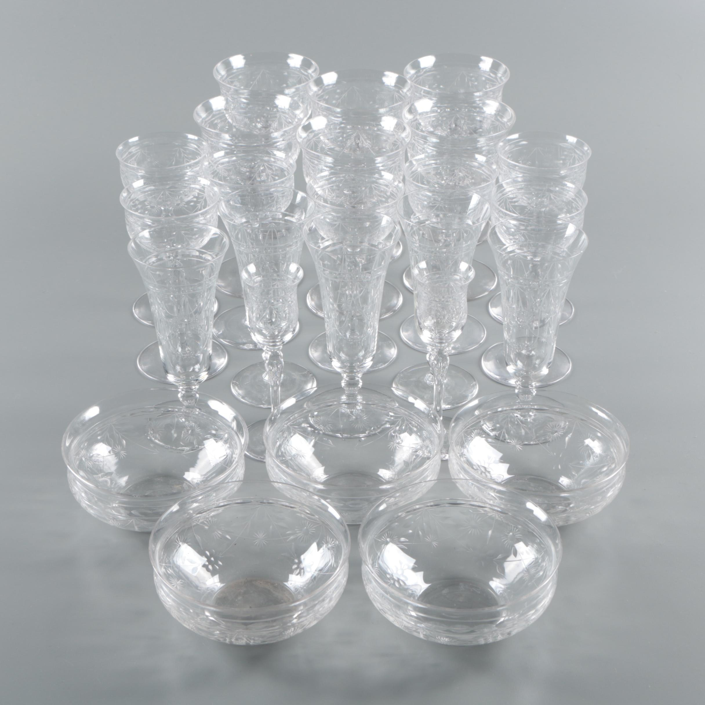 Vintage Floral Cut Glass Stemware and Finger Bowls