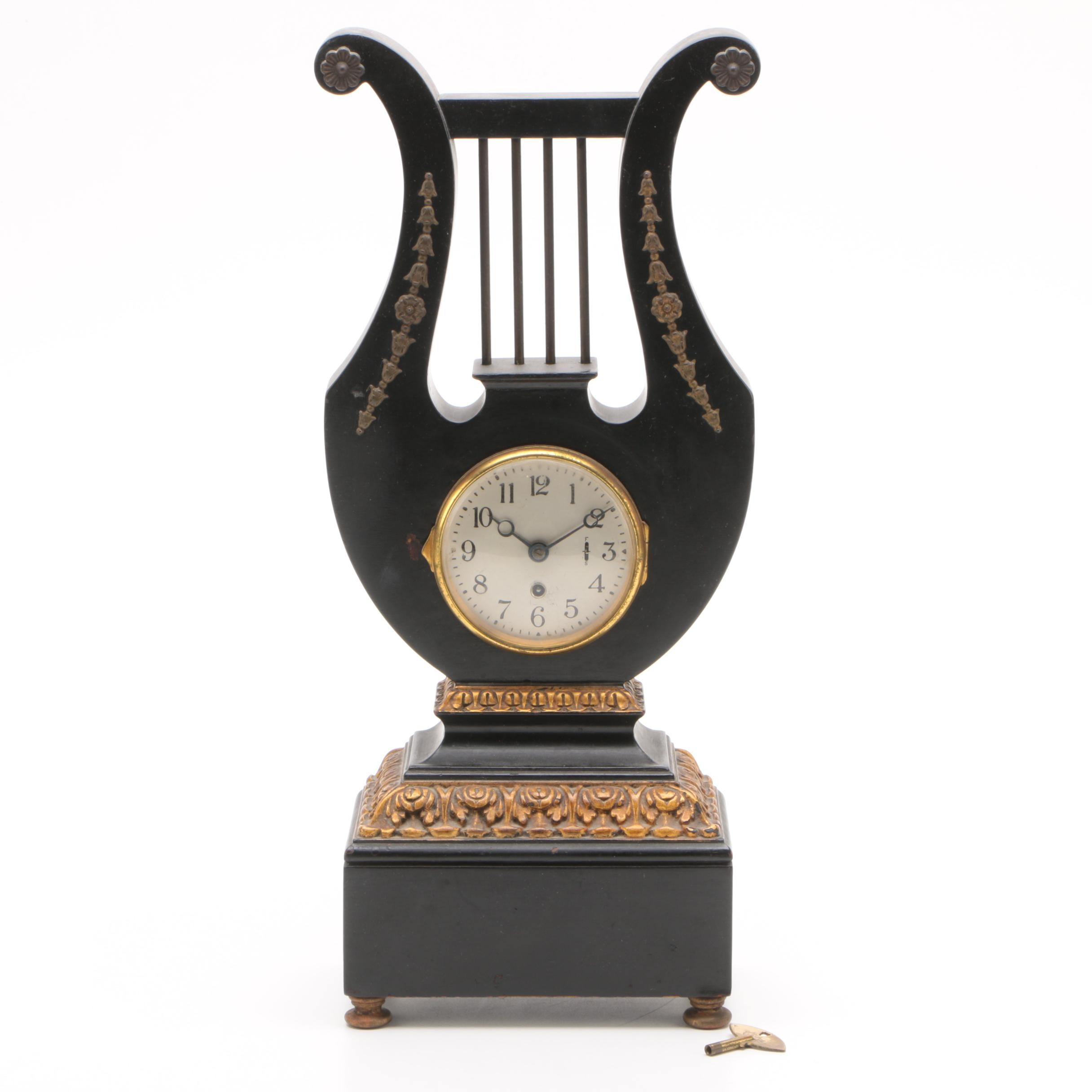 Neoclassical Inspired Lyre Form Wooden Shelf Clock