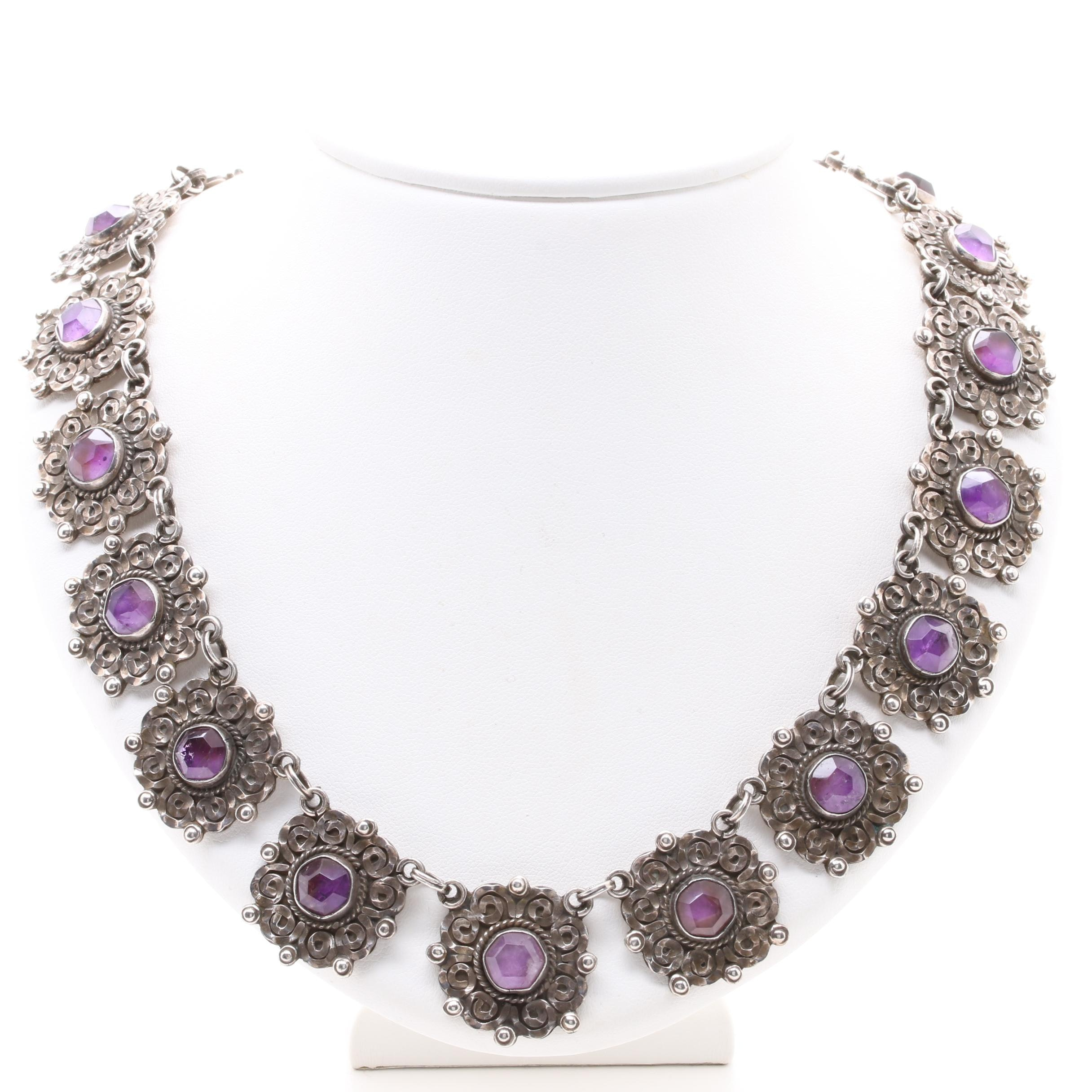 Taxco Sterling Silver Amethyst Necklace