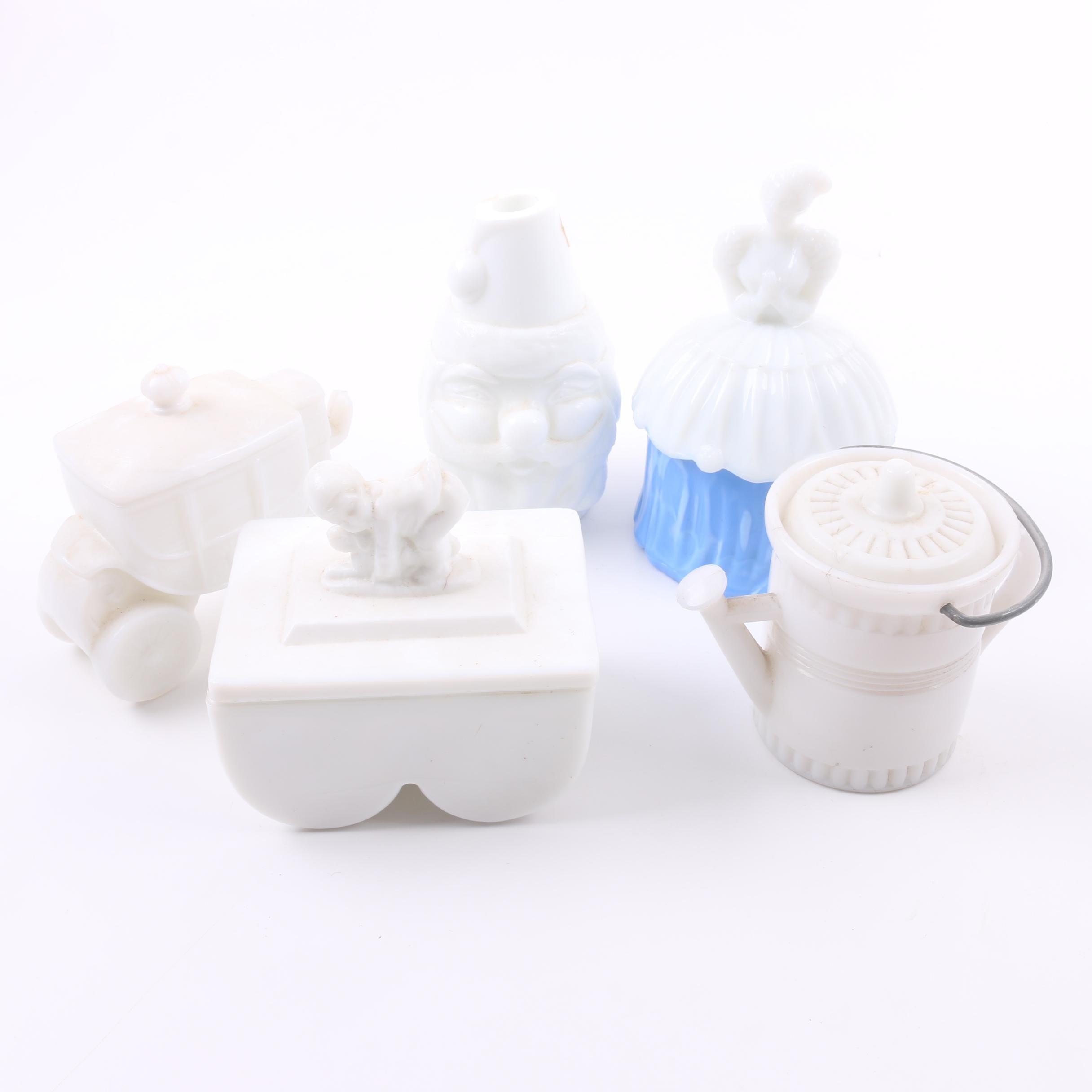 Vintage Milk Glass Trinket Boxes